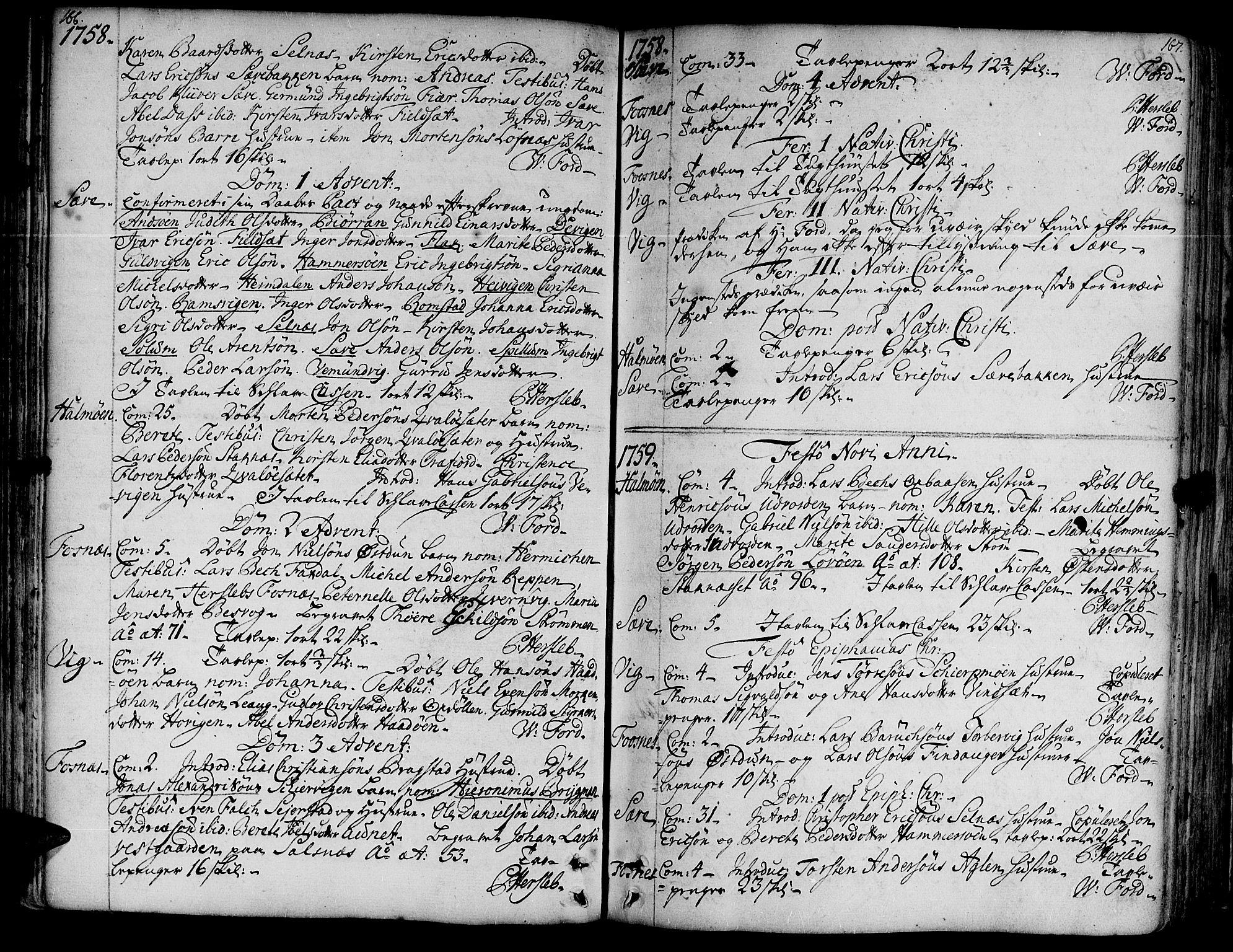 SAT, Ministerialprotokoller, klokkerbøker og fødselsregistre - Nord-Trøndelag, 773/L0607: Ministerialbok nr. 773A01, 1751-1783, s. 166-167