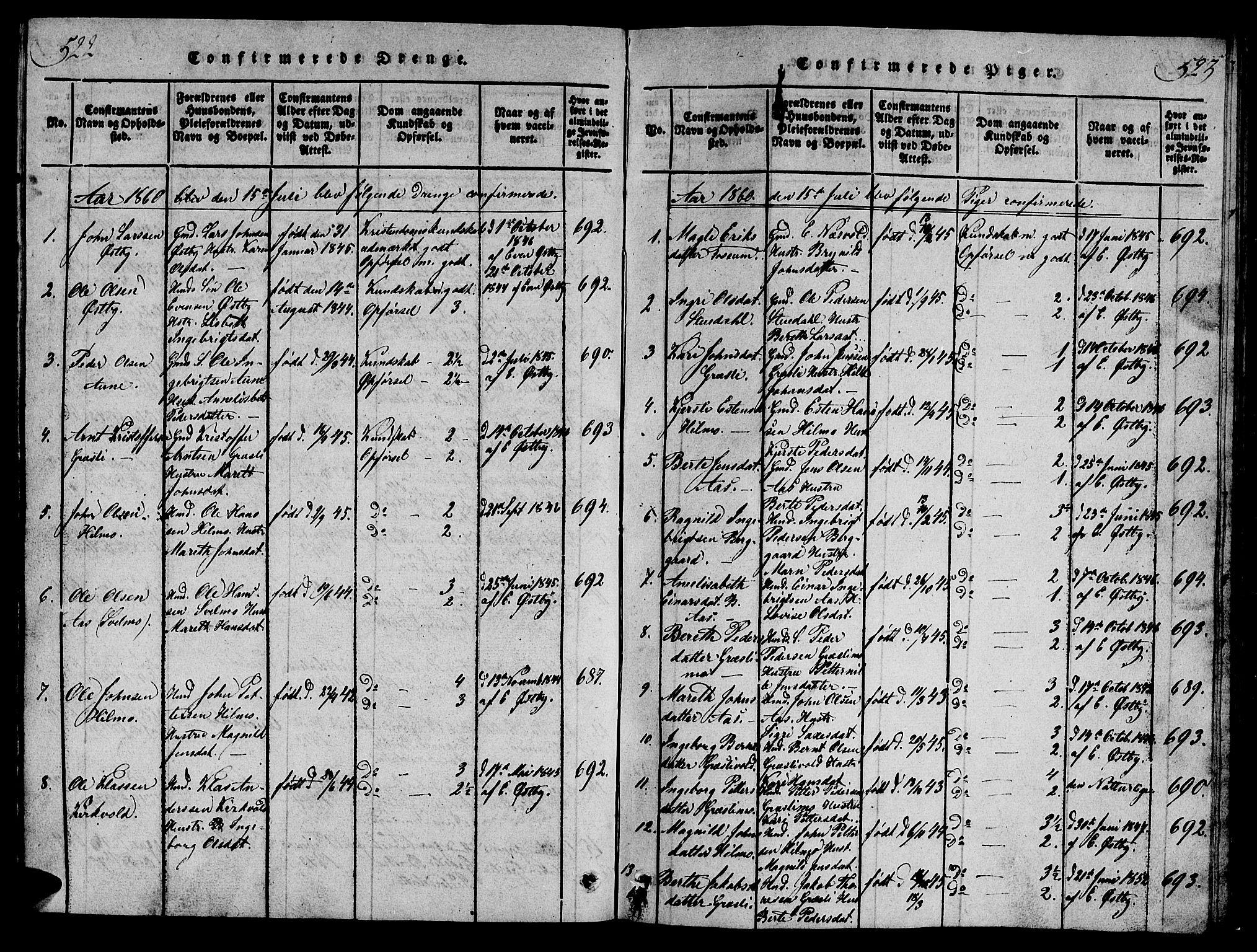 SAT, Ministerialprotokoller, klokkerbøker og fødselsregistre - Sør-Trøndelag, 698/L1164: Klokkerbok nr. 698C01, 1816-1861, s. 522-523