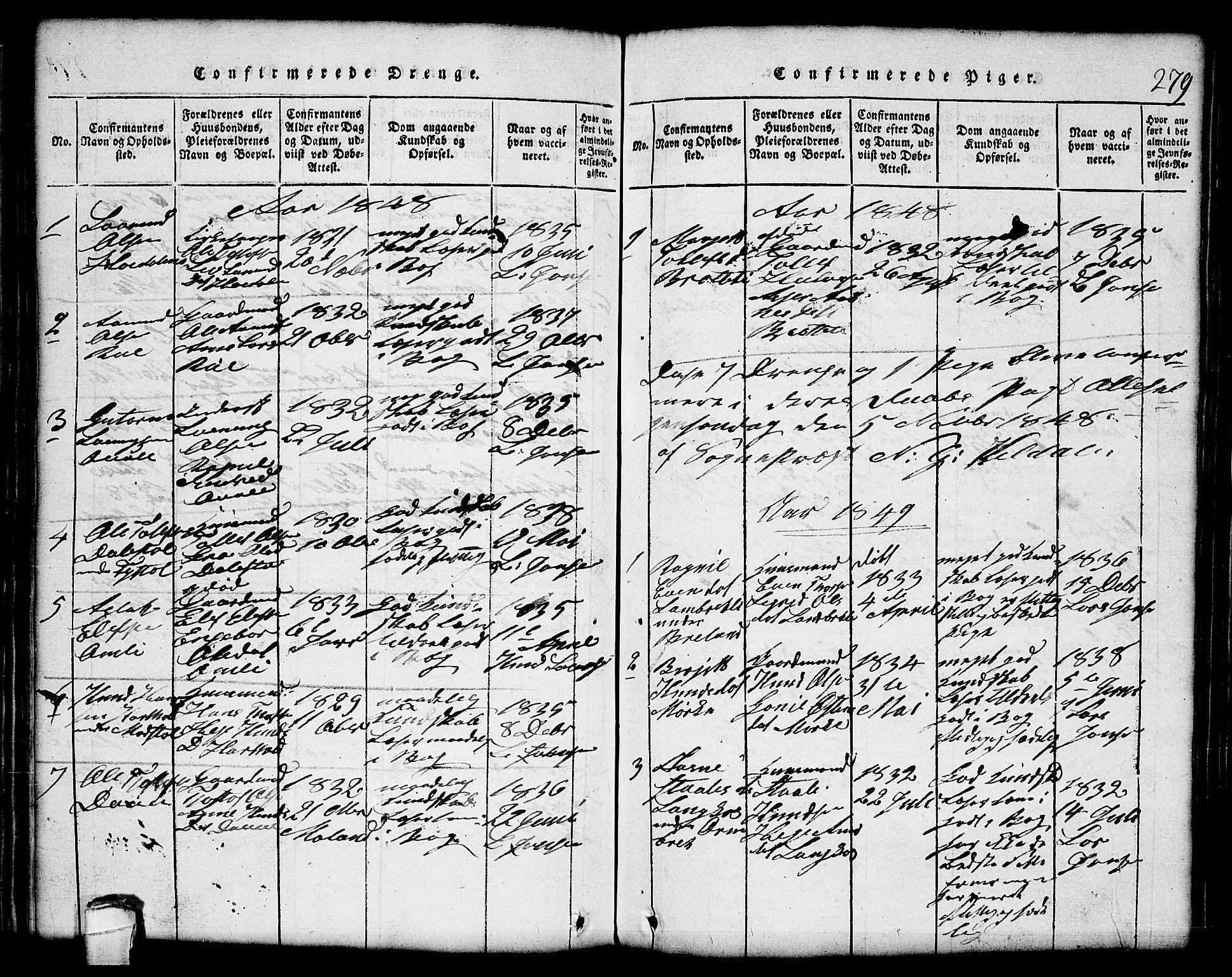 SAKO, Lårdal kirkebøker, G/Gc/L0001: Klokkerbok nr. III 1, 1815-1854, s. 279