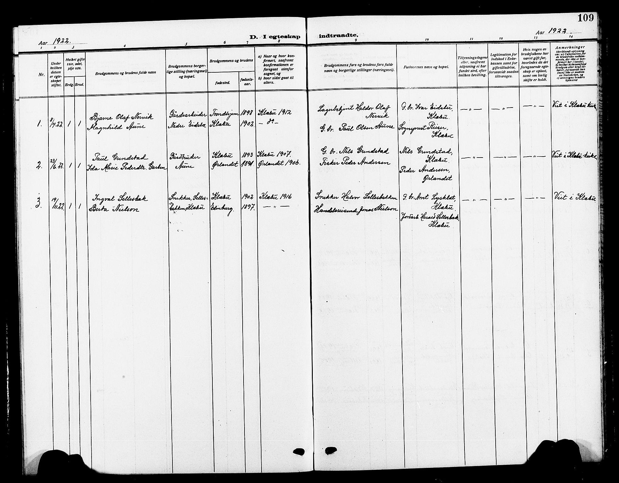 SAT, Ministerialprotokoller, klokkerbøker og fødselsregistre - Sør-Trøndelag, 618/L0453: Klokkerbok nr. 618C04, 1907-1925, s. 109