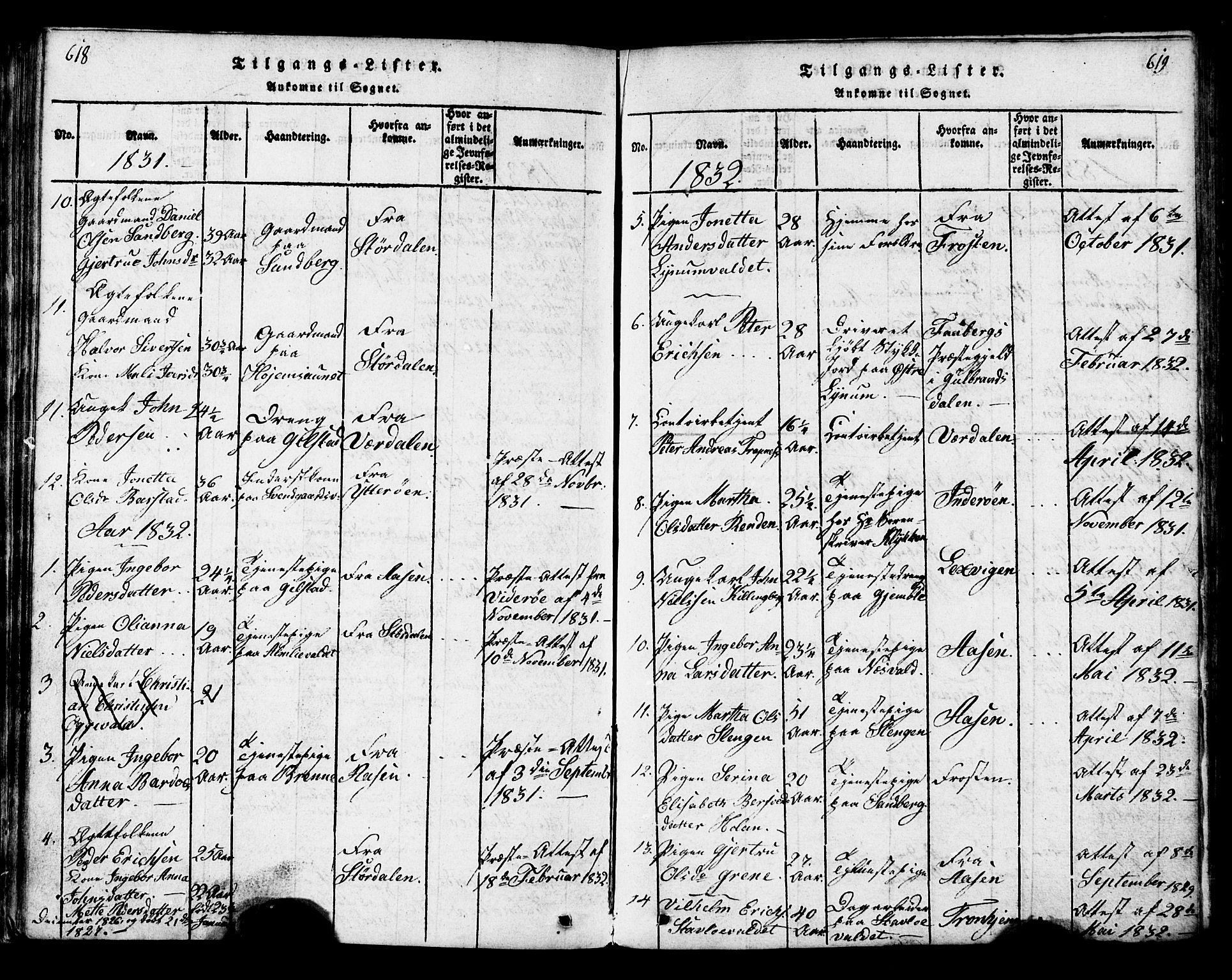 SAT, Ministerialprotokoller, klokkerbøker og fødselsregistre - Nord-Trøndelag, 717/L0169: Klokkerbok nr. 717C01, 1816-1834, s. 618-619