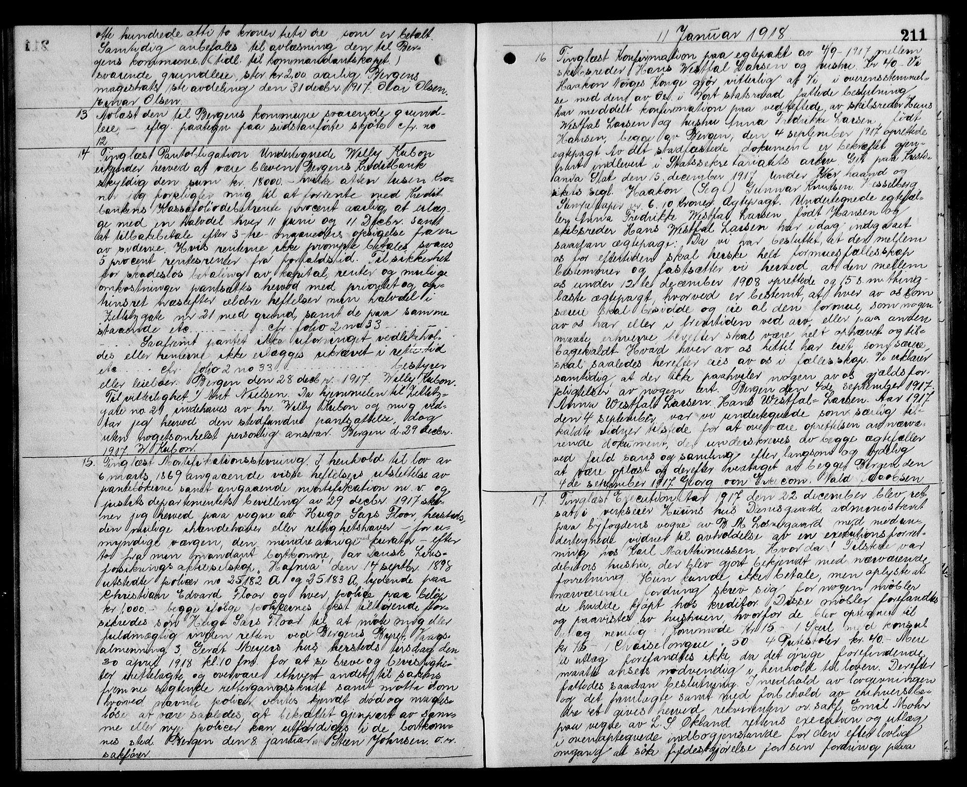 SAB, Byfogd og Byskriver i Bergen, 03/03Ba/L0078: Pantebok nr. II.B.a.78, 1917-1918, s. 211