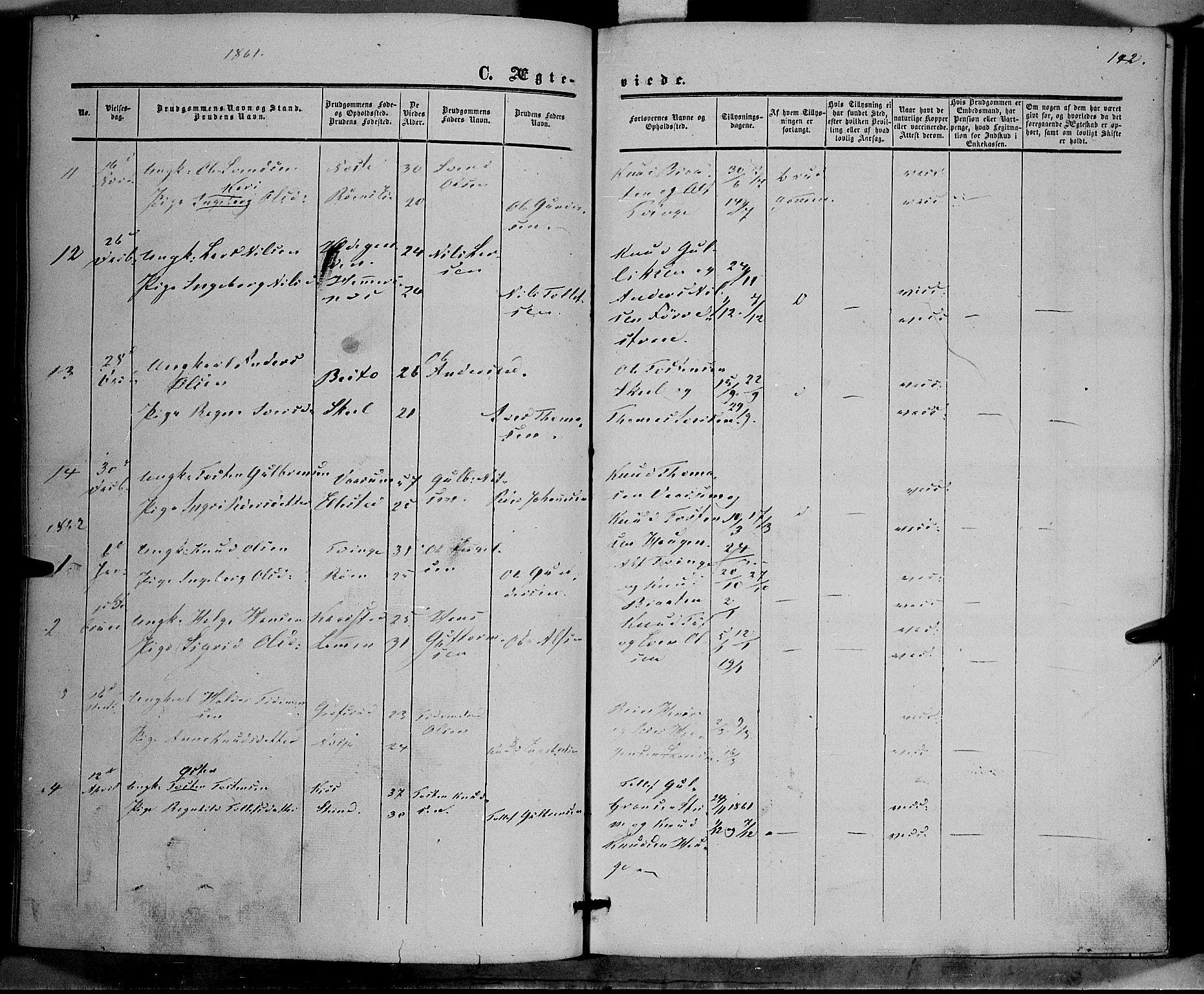 SAH, Vestre Slidre prestekontor, Ministerialbok nr. 2, 1856-1864, s. 142