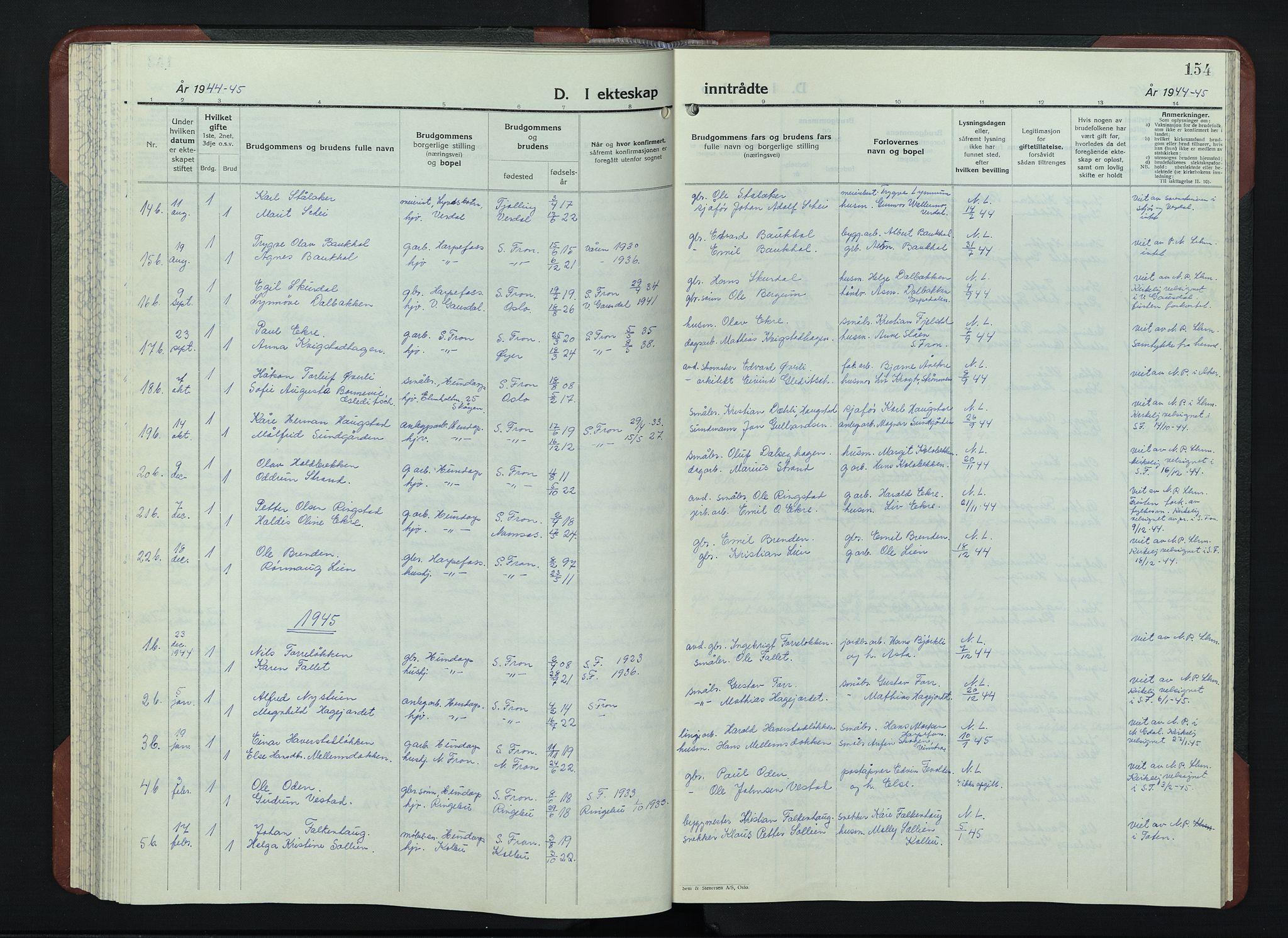 SAH, Sør-Fron prestekontor, H/Ha/Hab/L0006: Klokkerbok nr. 6, 1933-1948, s. 154