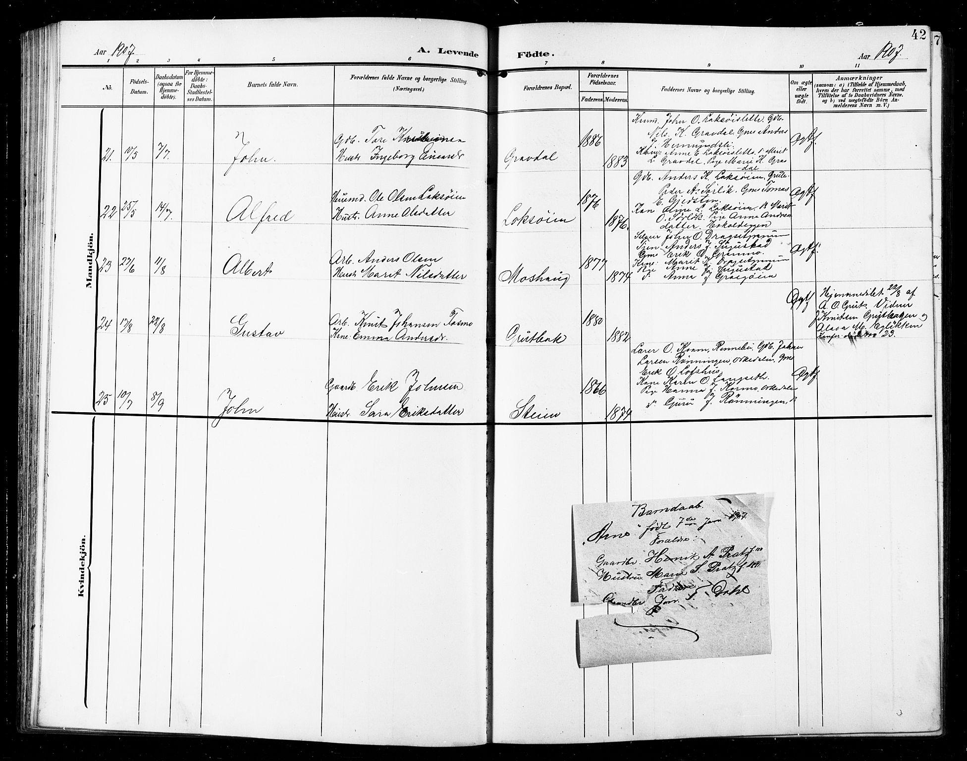 SAT, Ministerialprotokoller, klokkerbøker og fødselsregistre - Sør-Trøndelag, 672/L0864: Klokkerbok nr. 672C03, 1902-1914, s. 42