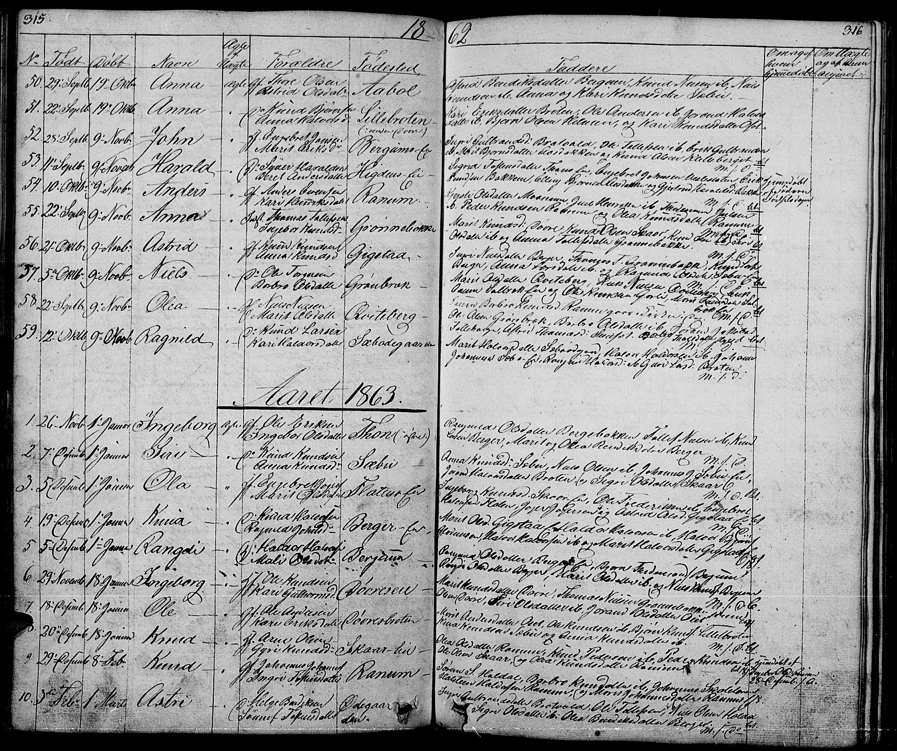 SAH, Nord-Aurdal prestekontor, Klokkerbok nr. 1, 1834-1887, s. 315-316