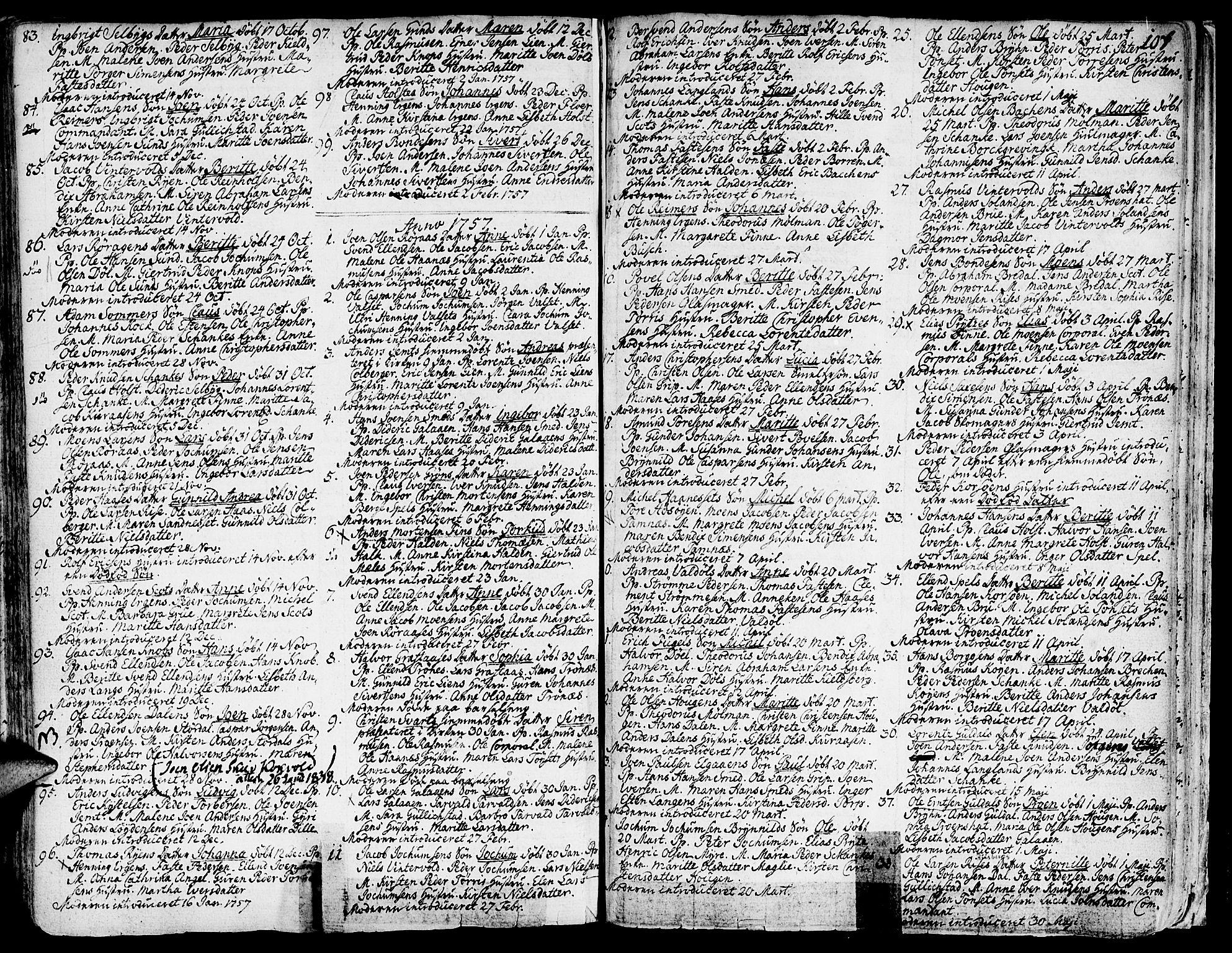 SAT, Ministerialprotokoller, klokkerbøker og fødselsregistre - Sør-Trøndelag, 681/L0925: Ministerialbok nr. 681A03, 1727-1766, s. 107