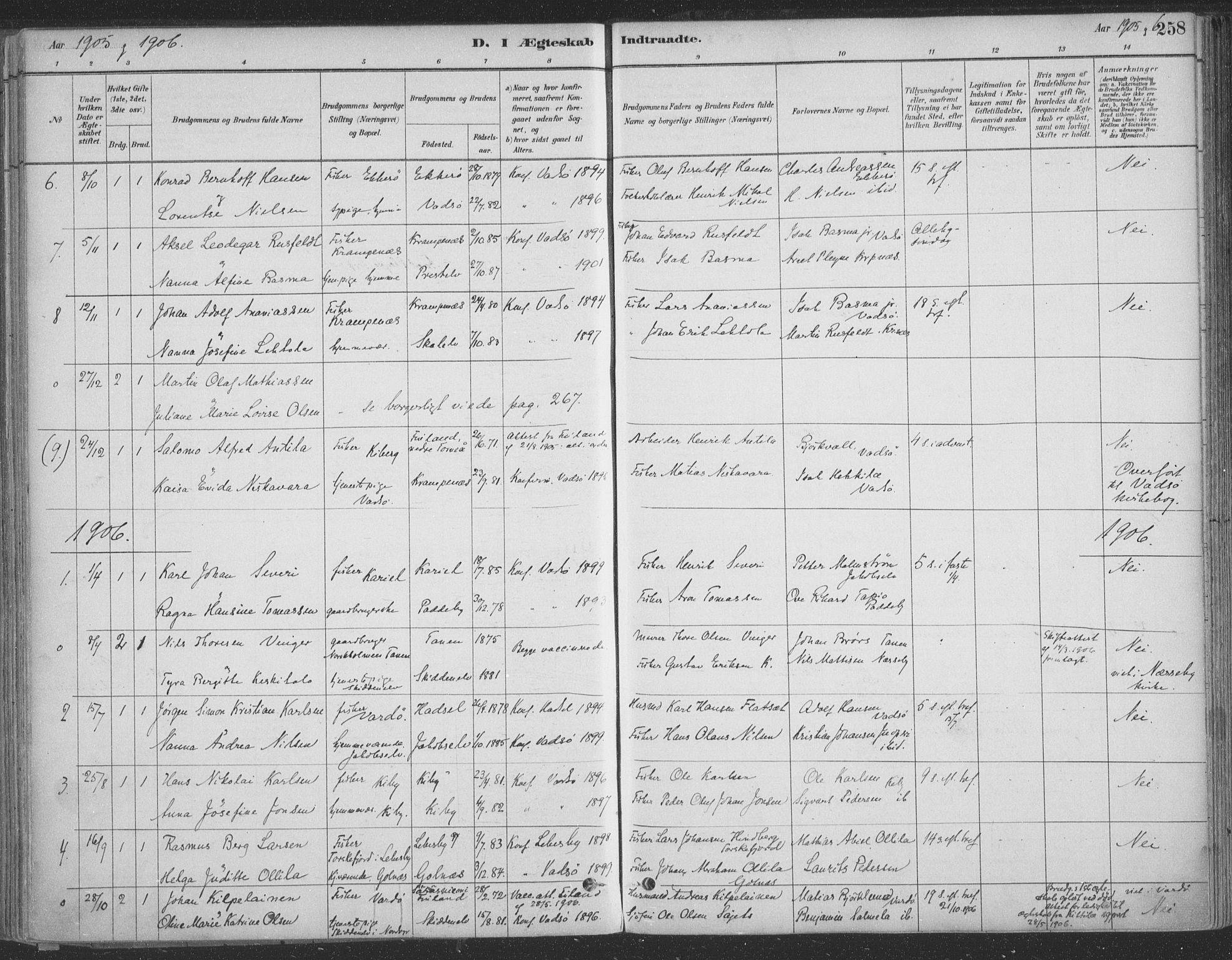 SATØ, Vadsø sokneprestkontor, H/Ha/L0009kirke: Ministerialbok nr. 9, 1881-1917, s. 258