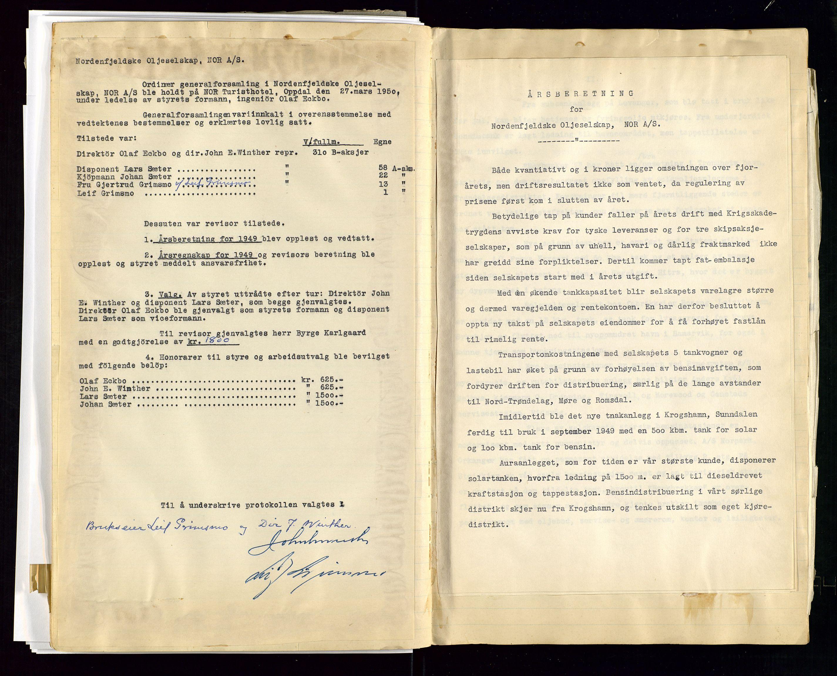 SAST, PA 1519 - Nordenfjeldske Oljeselskap, NOR A/S, A/L0001: Styreprotokoll, 1937-1962, s. 84
