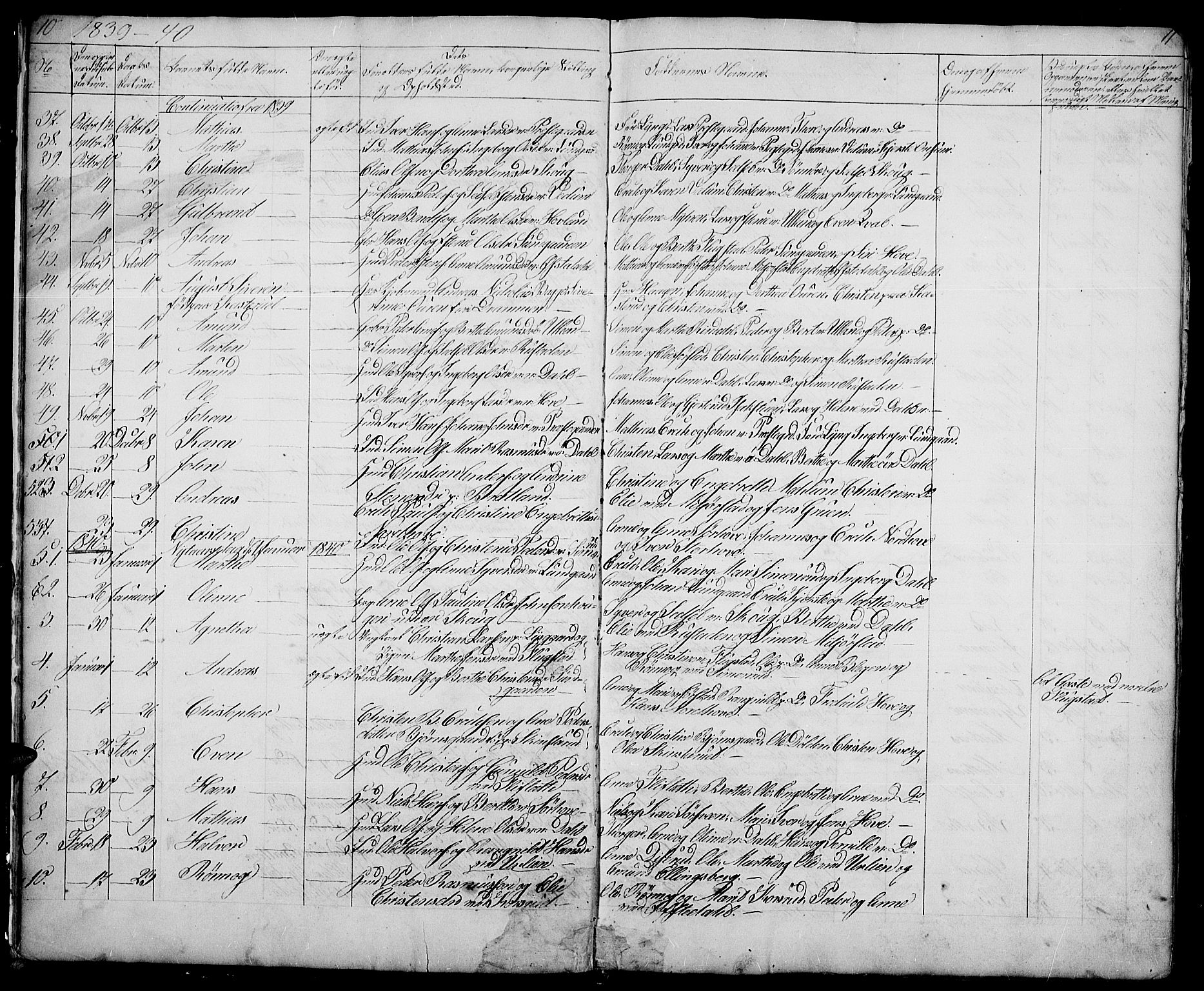 SAH, Fåberg prestekontor, Klokkerbok nr. 5, 1837-1864, s. 10-11