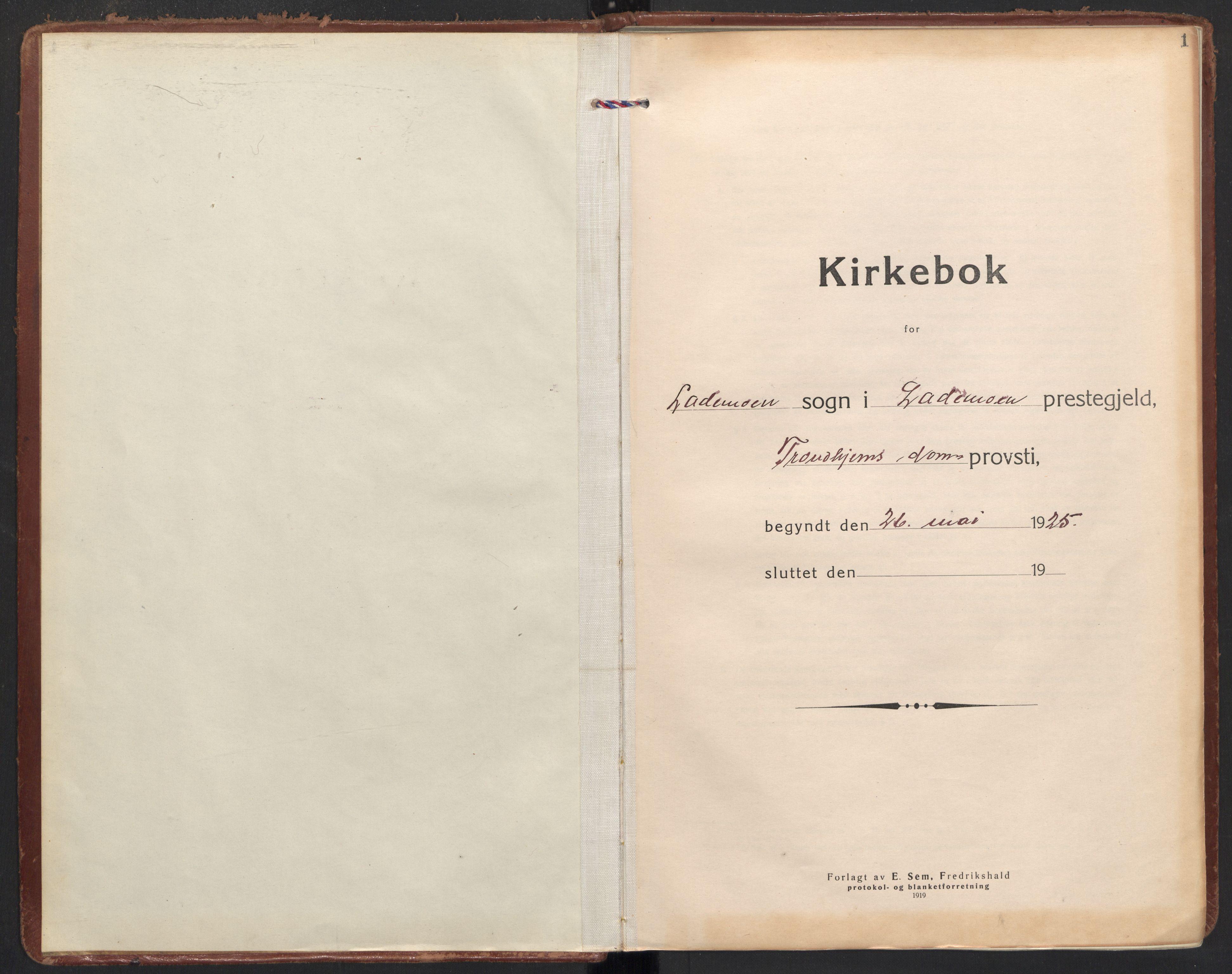 SAT, Ministerialprotokoller, klokkerbøker og fødselsregistre - Sør-Trøndelag, 605/L0249: Ministerialbok nr. 605A11, 1925-1936, s. 1