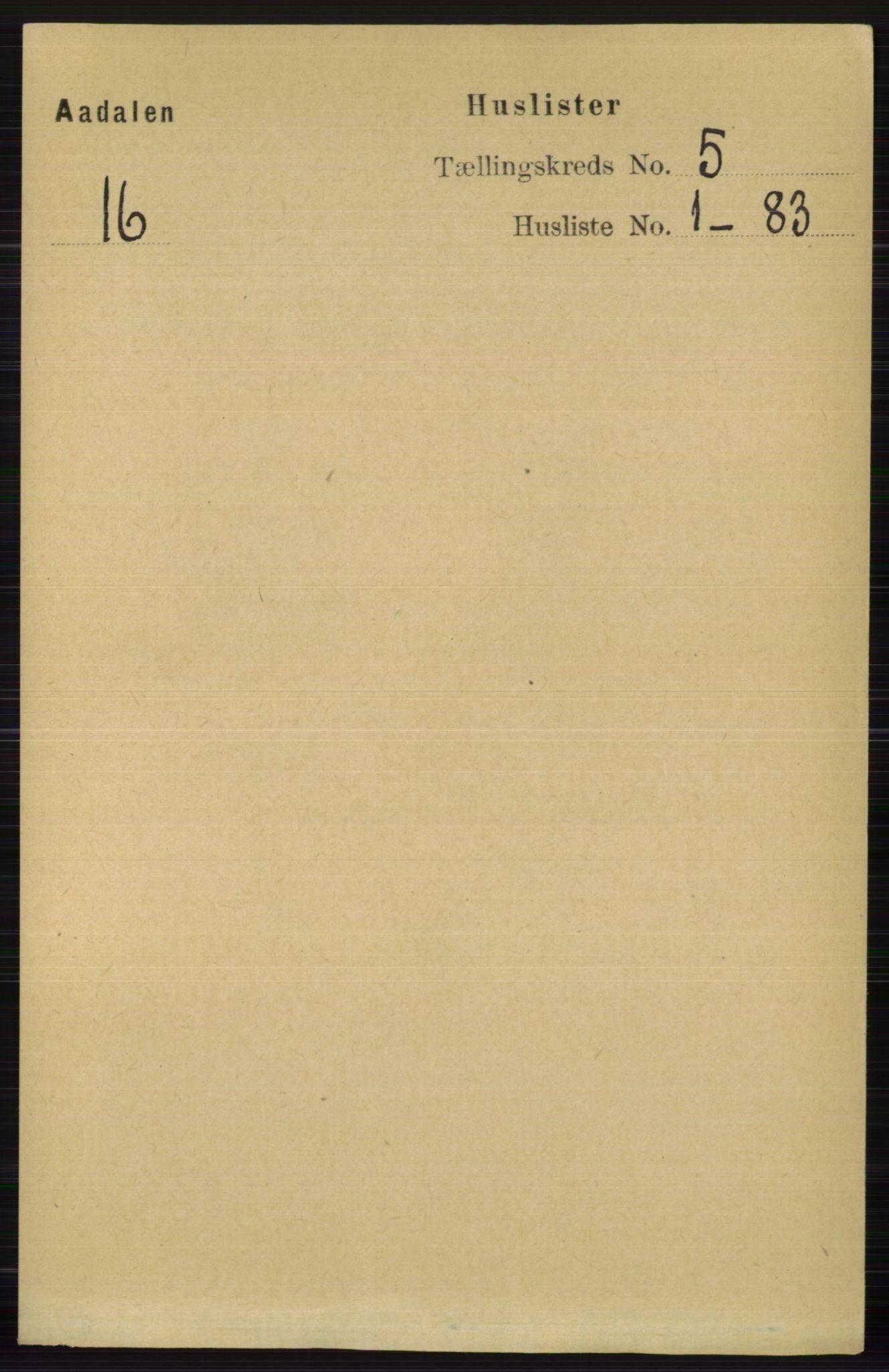 RA, Folketelling 1891 for 0614 Ådal herred, 1891, s. 1927
