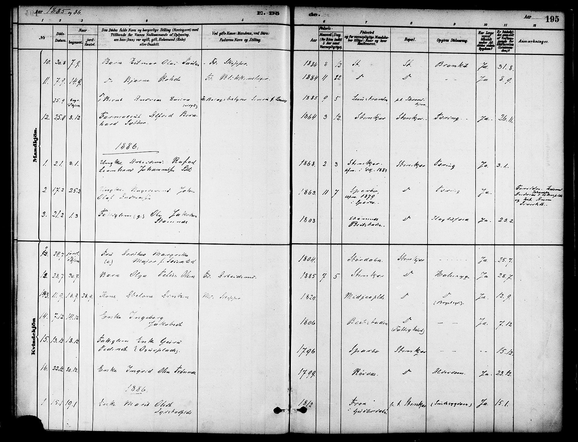 SAT, Ministerialprotokoller, klokkerbøker og fødselsregistre - Nord-Trøndelag, 739/L0371: Ministerialbok nr. 739A03, 1881-1895, s. 195
