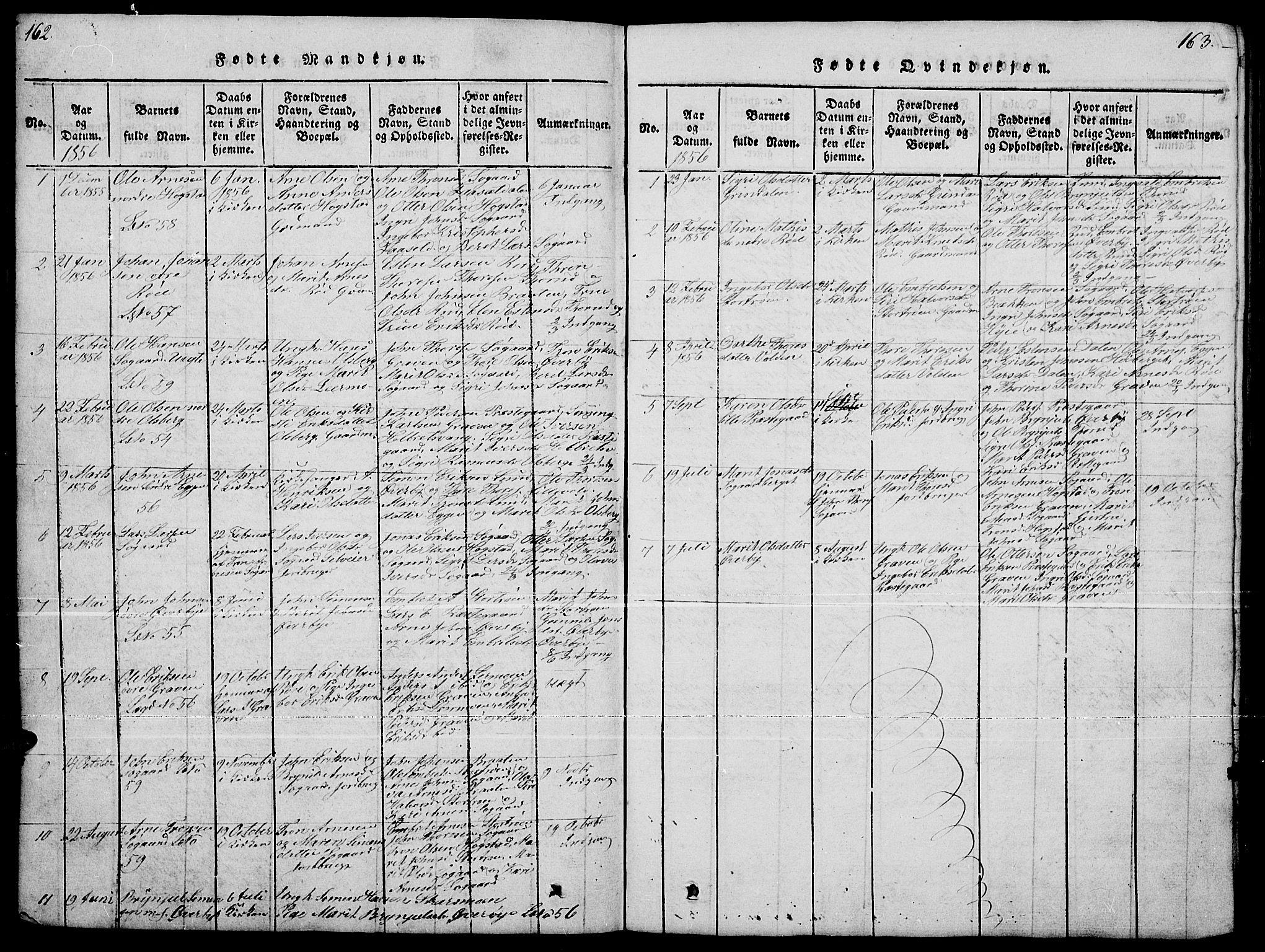SAH, Tynset prestekontor, Klokkerbok nr. 4, 1814-1879, s. 162-163