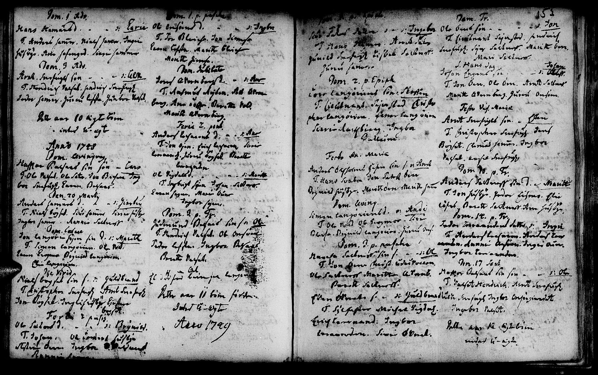 SAT, Ministerialprotokoller, klokkerbøker og fødselsregistre - Sør-Trøndelag, 666/L0783: Ministerialbok nr. 666A01, 1702-1753, s. 153