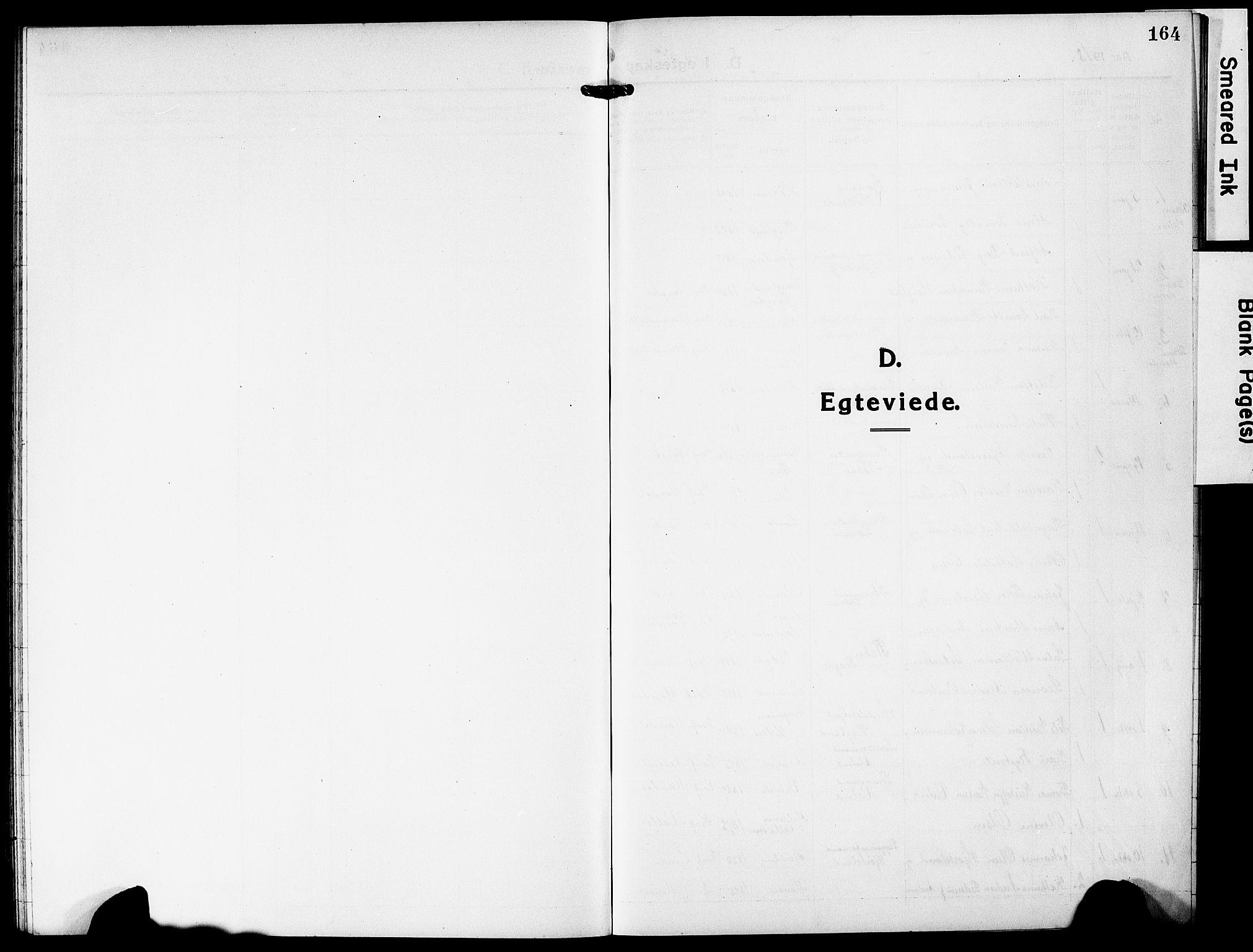 SAK, Mandal sokneprestkontor, F/Fb/Fba/L0013: Klokkerbok nr. B 7, 1918-1931, s. 164