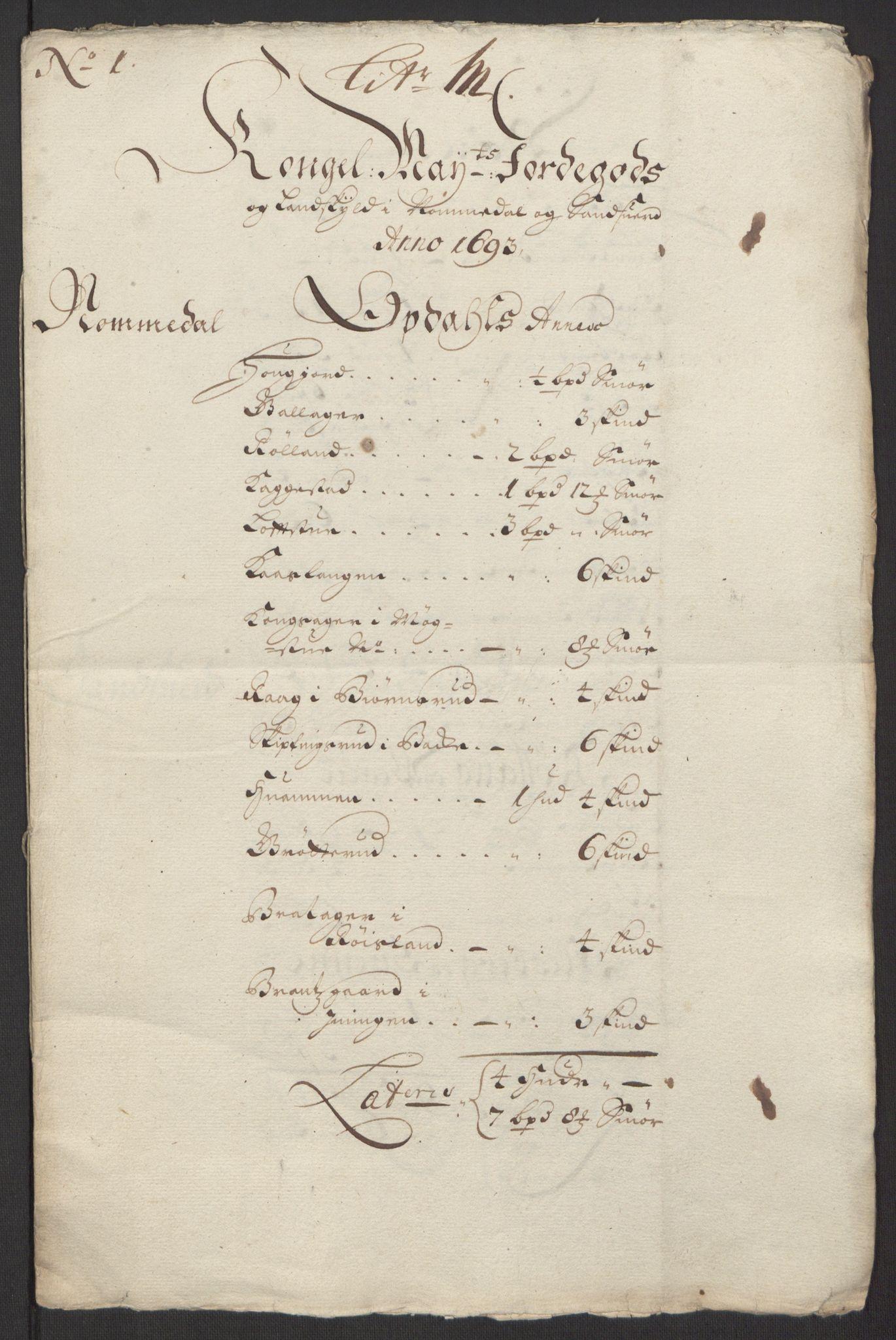 RA, Rentekammeret inntil 1814, Reviderte regnskaper, Fogderegnskap, R24/L1575: Fogderegnskap Numedal og Sandsvær, 1692-1695, s. 124