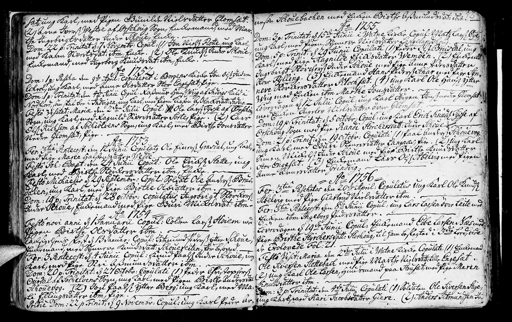 SAT, Ministerialprotokoller, klokkerbøker og fødselsregistre - Møre og Romsdal, 524/L0349: Ministerialbok nr. 524A01, 1698-1779, s. 52