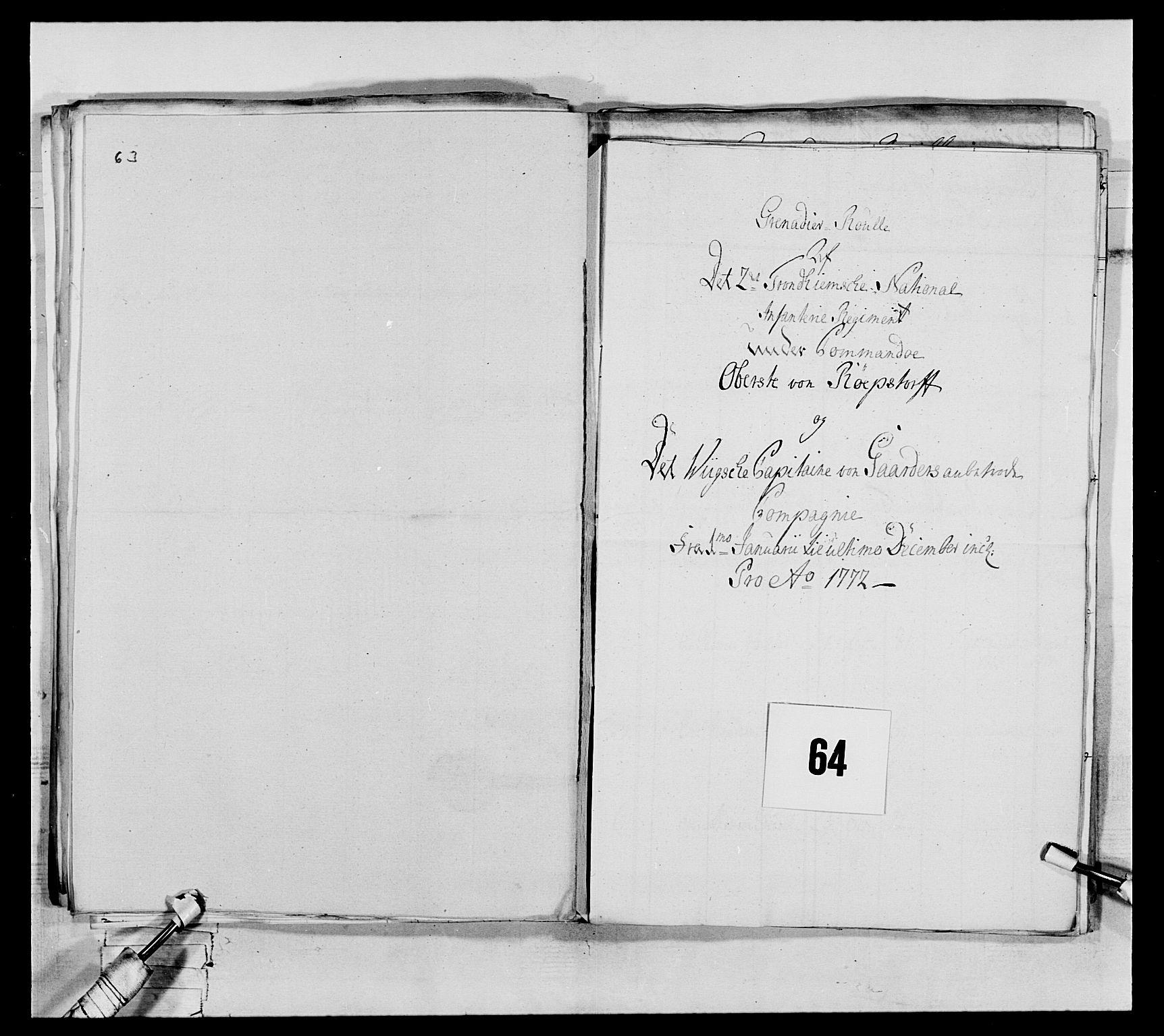 RA, Generalitets- og kommissariatskollegiet, Det kongelige norske kommissariatskollegium, E/Eh/L0076: 2. Trondheimske nasjonale infanteriregiment, 1766-1773, s. 225