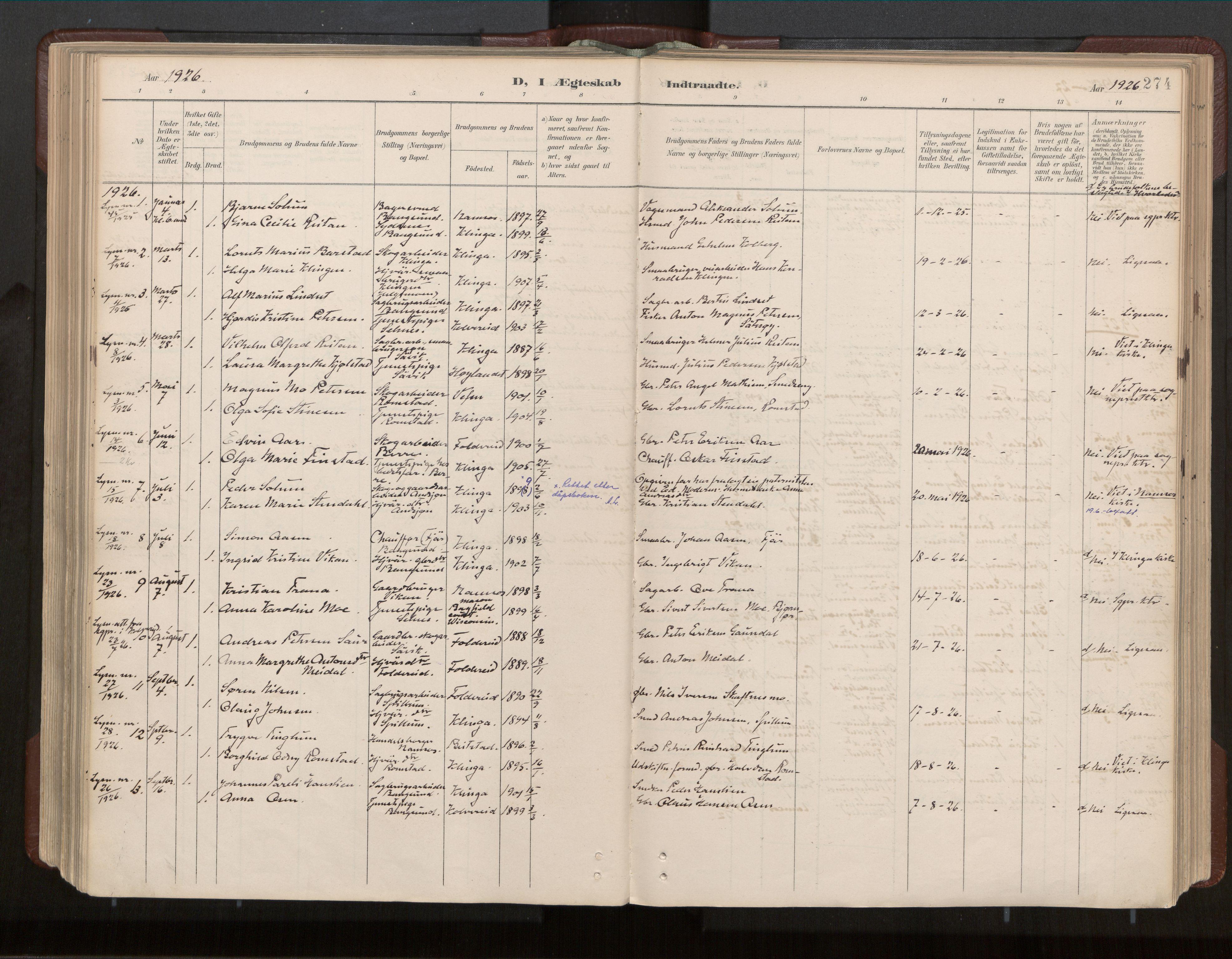 SAT, Ministerialprotokoller, klokkerbøker og fødselsregistre - Nord-Trøndelag, 770/L0589: Ministerialbok nr. 770A03, 1887-1929, s. 274