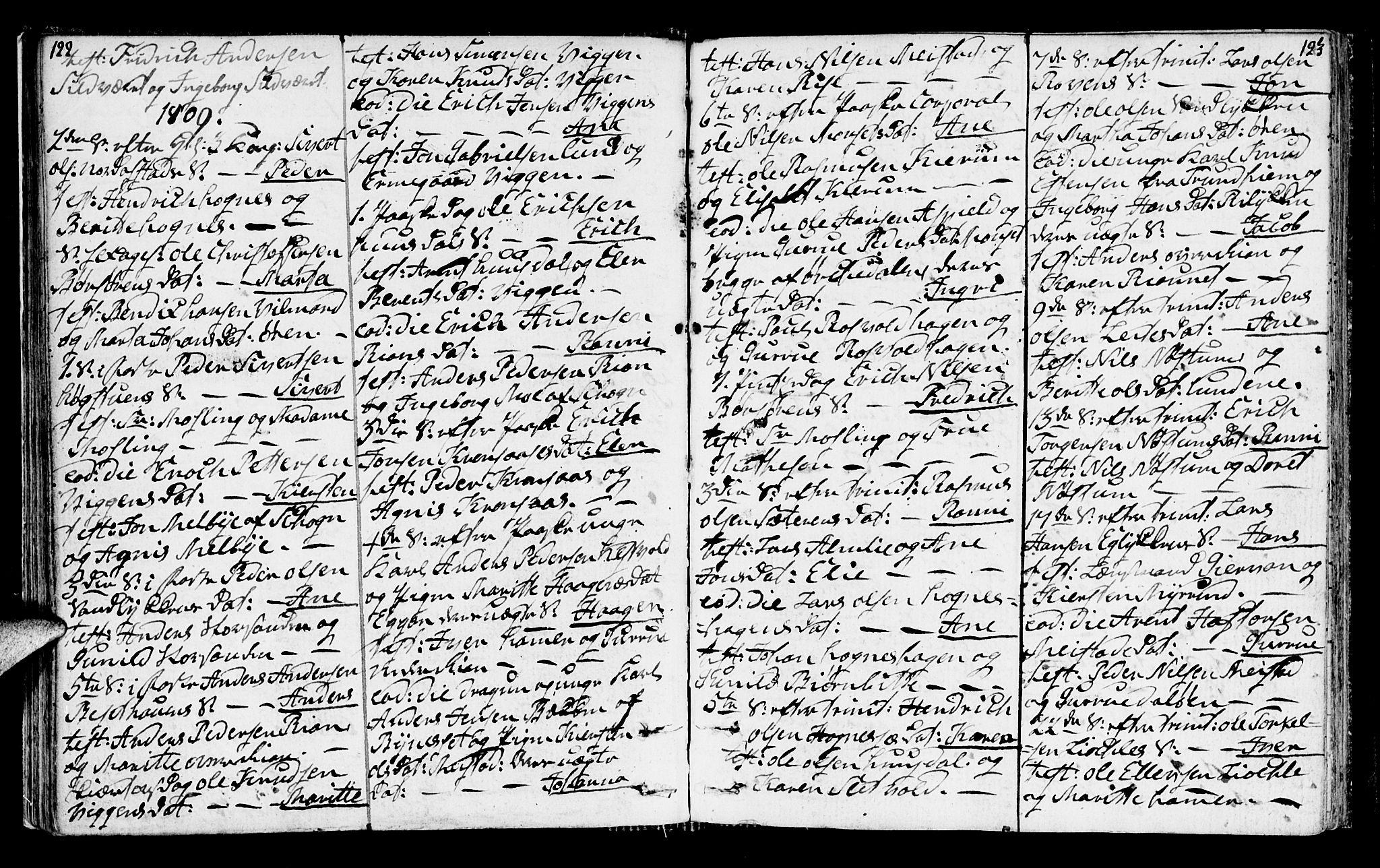 SAT, Ministerialprotokoller, klokkerbøker og fødselsregistre - Sør-Trøndelag, 665/L0769: Ministerialbok nr. 665A04, 1803-1816, s. 122-123