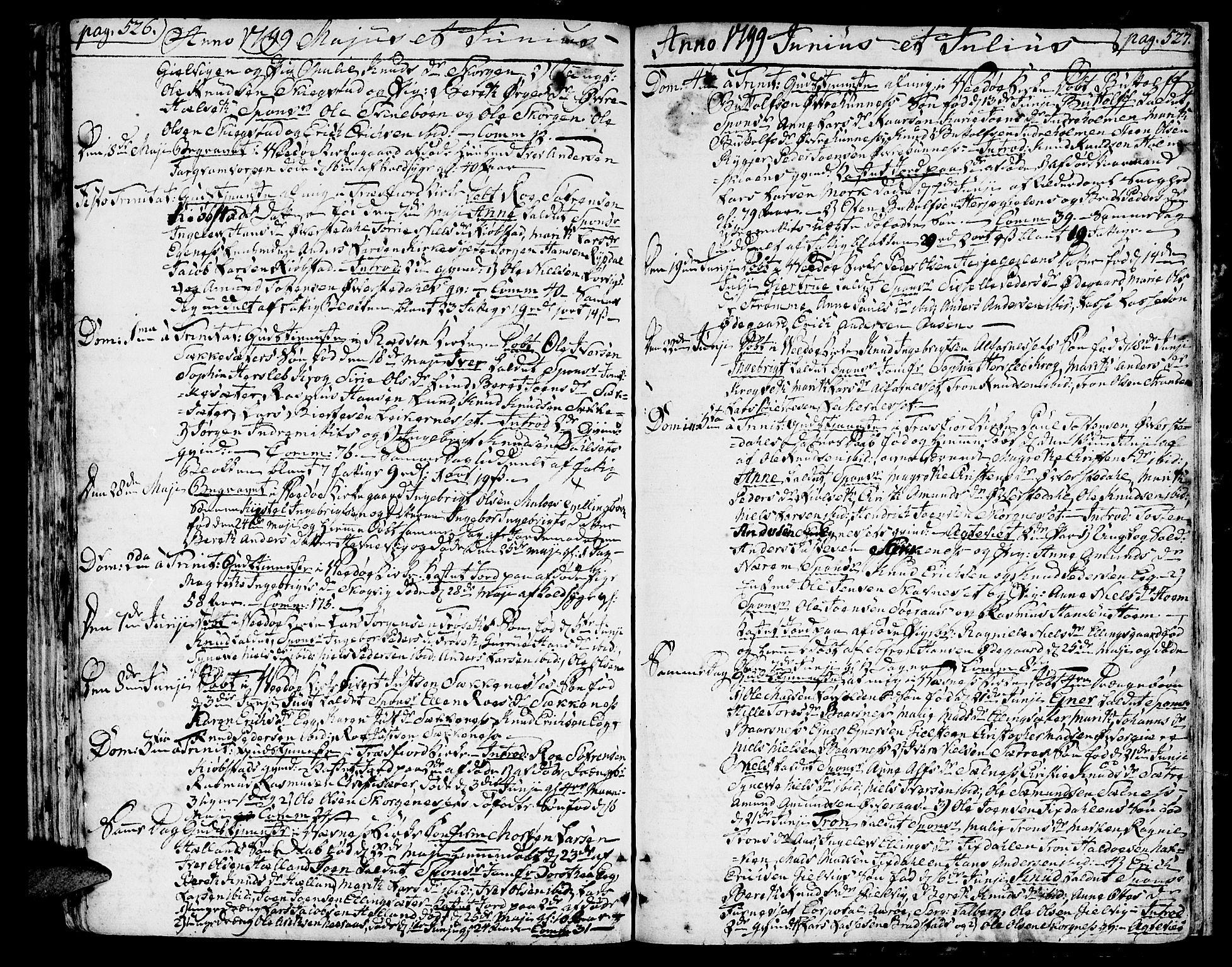 SAT, Ministerialprotokoller, klokkerbøker og fødselsregistre - Møre og Romsdal, 547/L0600: Ministerialbok nr. 547A02, 1765-1799, s. 526-527