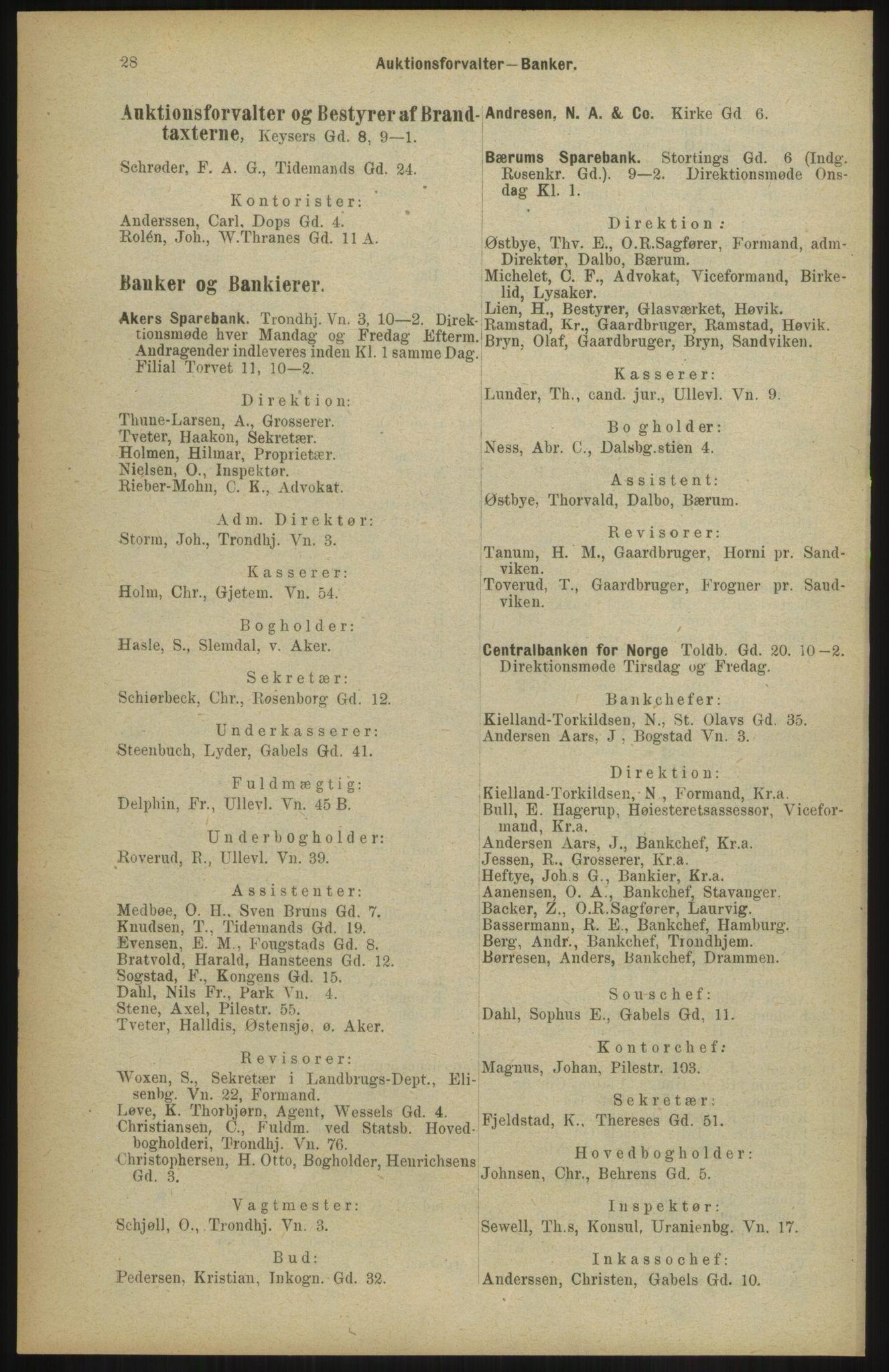 RA, Kristiania adressebok (publikasjon)*, 1904, s. 28