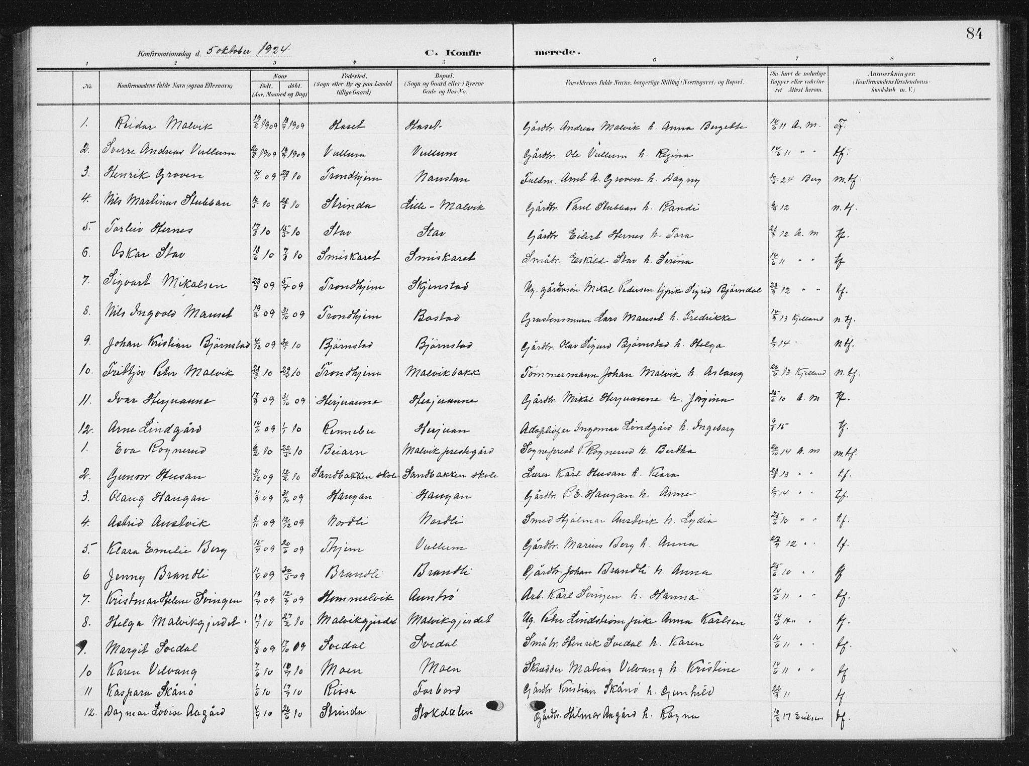 SAT, Ministerialprotokoller, klokkerbøker og fødselsregistre - Sør-Trøndelag, 616/L0424: Klokkerbok nr. 616C07, 1904-1940, s. 84