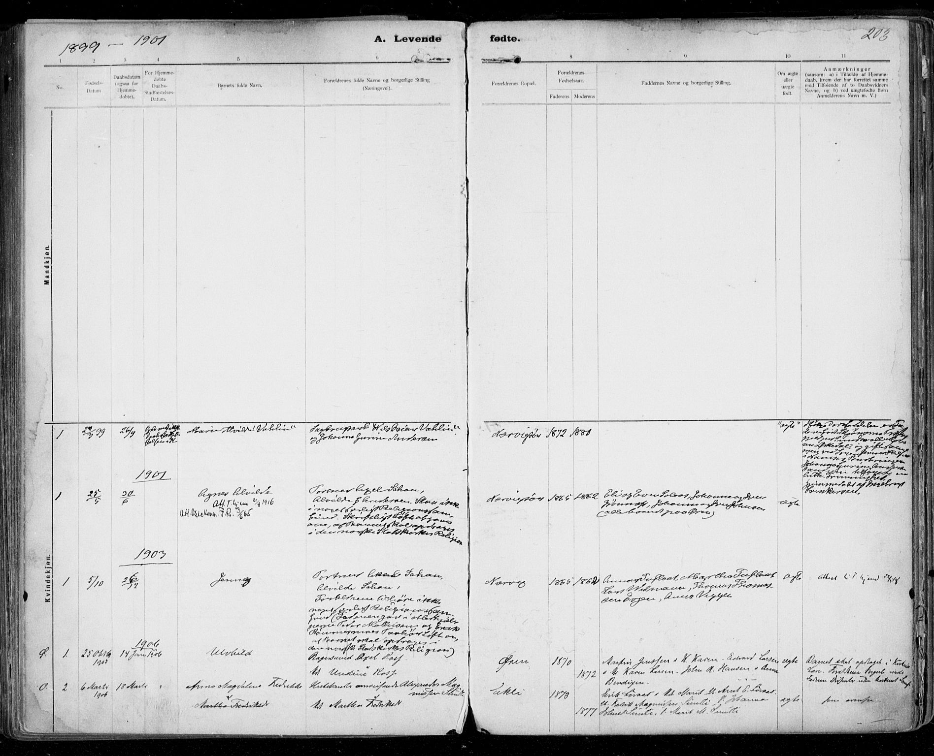 SAT, Ministerialprotokoller, klokkerbøker og fødselsregistre - Sør-Trøndelag, 668/L0811: Ministerialbok nr. 668A11, 1894-1913, s. 203
