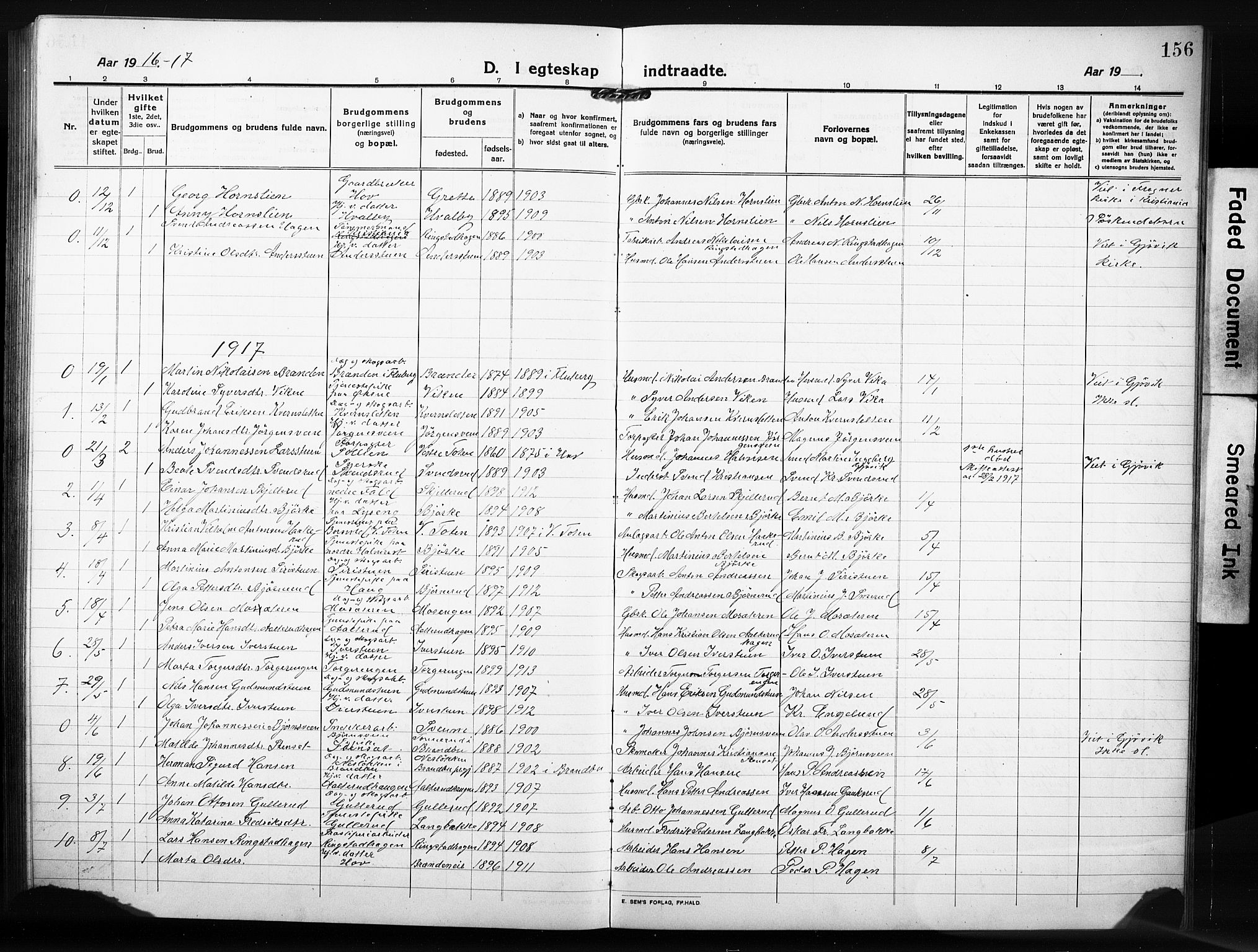 SAH, Søndre Land prestekontor, L/L0007: Klokkerbok nr. 7, 1915-1932, s. 156