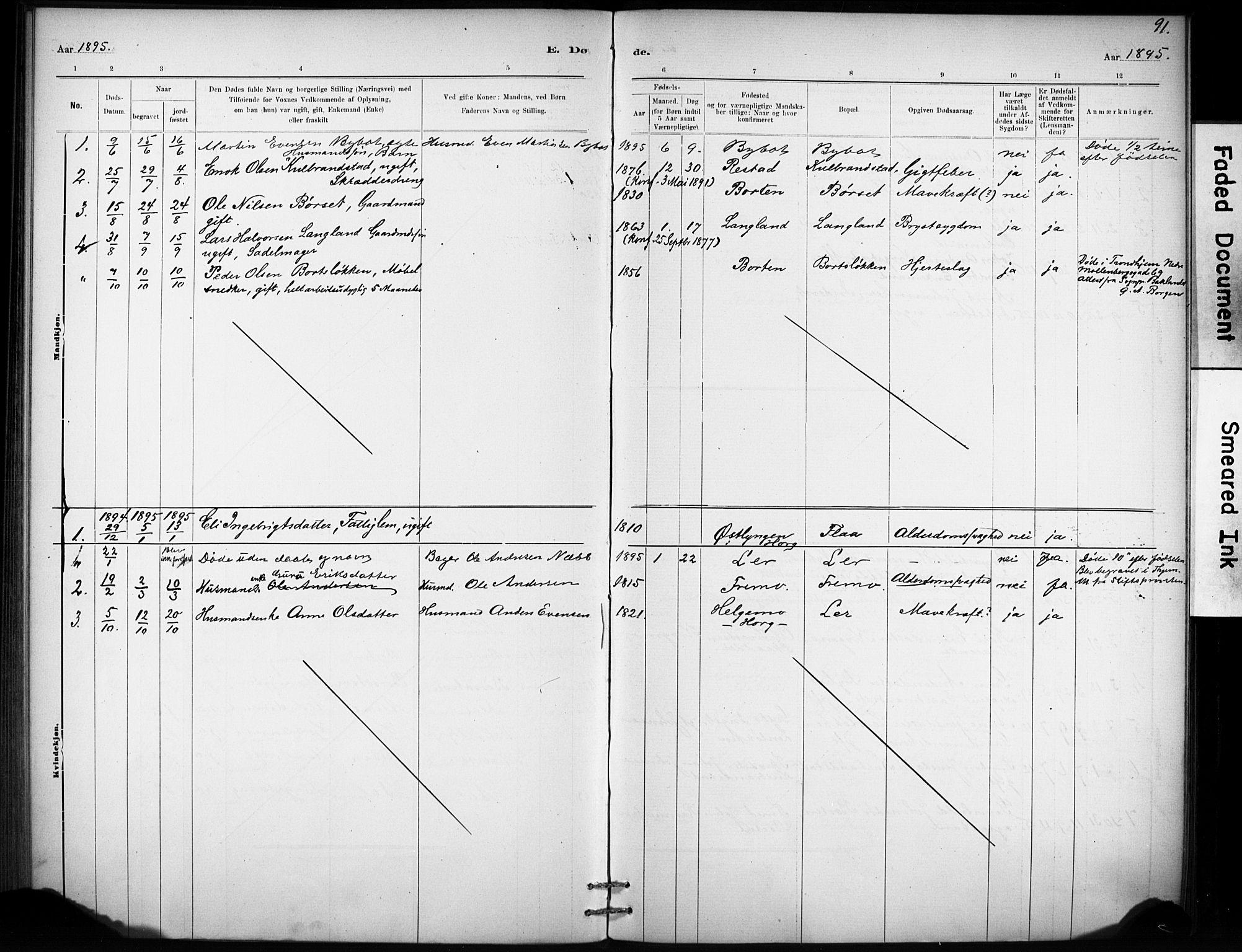 SAT, Ministerialprotokoller, klokkerbøker og fødselsregistre - Sør-Trøndelag, 693/L1119: Ministerialbok nr. 693A01, 1887-1905, s. 91