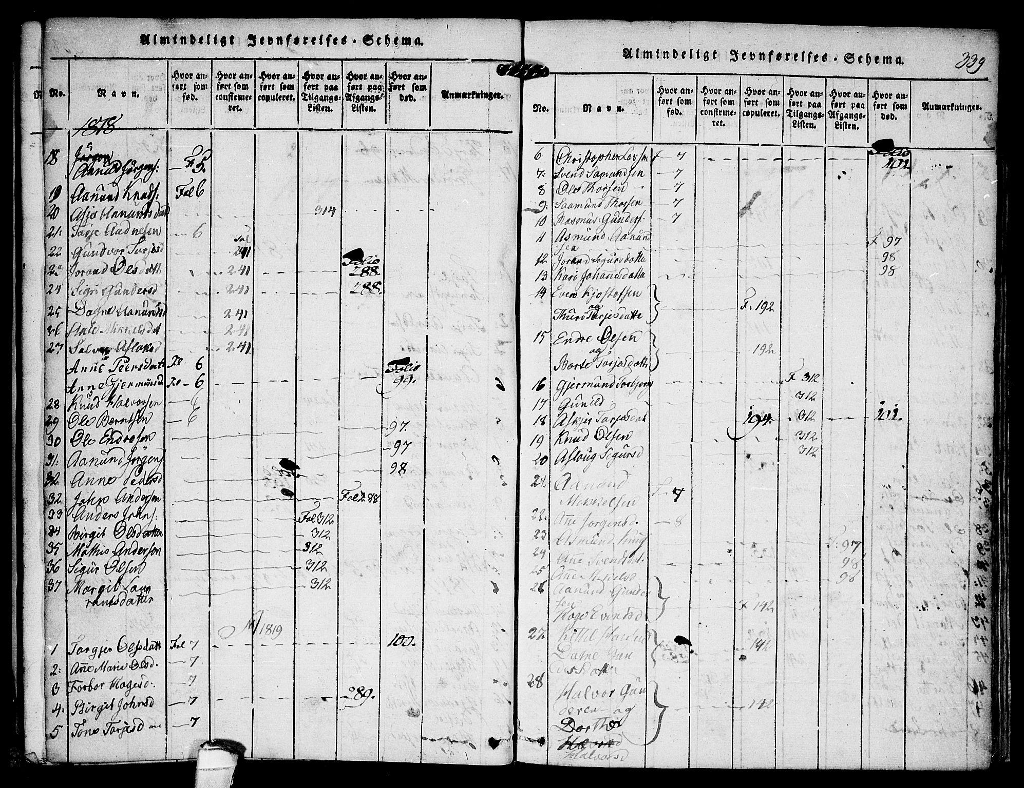 SAKO, Kviteseid kirkebøker, F/Fc/L0001: Ministerialbok nr. III 1, 1815-1836, s. 339