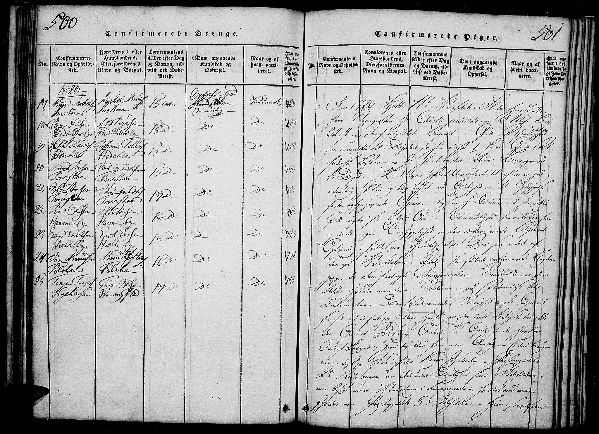 SAH, Slidre prestekontor, Ministerialbok nr. 2, 1814-1830, s. 500-501
