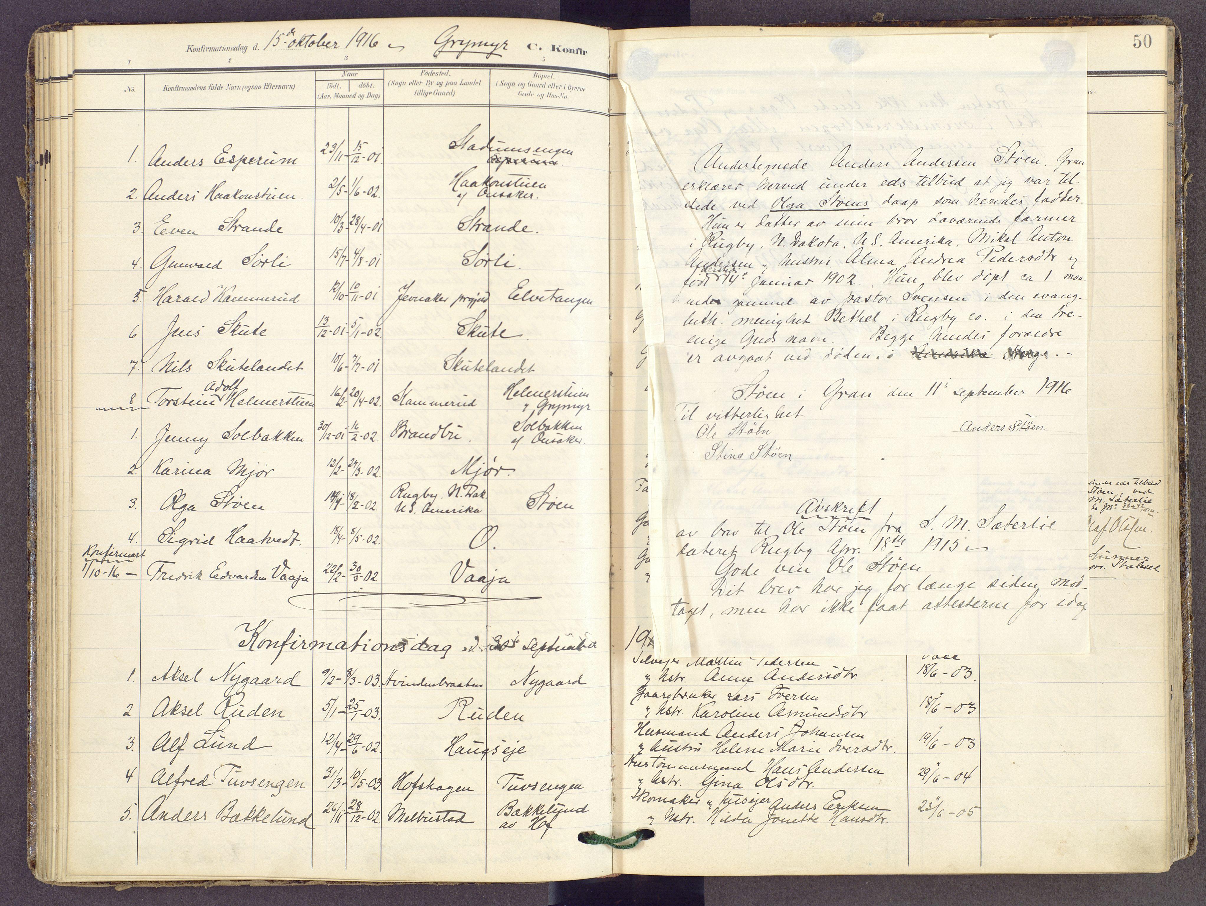SAH, Gran prestekontor, Ministerialbok nr. 22, 1908-1918, s. 50