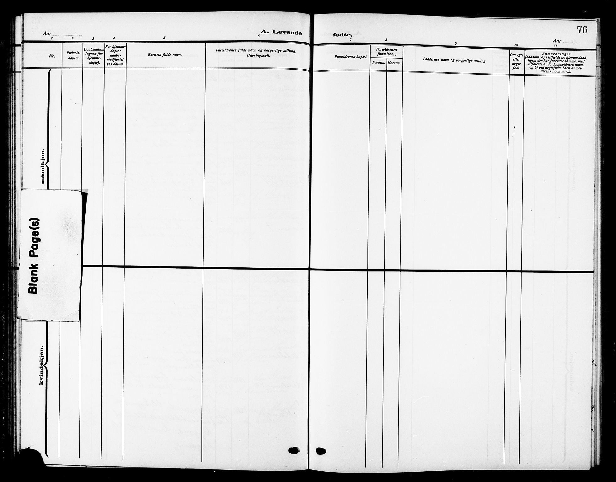 SAT, Ministerialprotokoller, klokkerbøker og fødselsregistre - Sør-Trøndelag, 669/L0831: Klokkerbok nr. 669C01, 1909-1924, s. 76