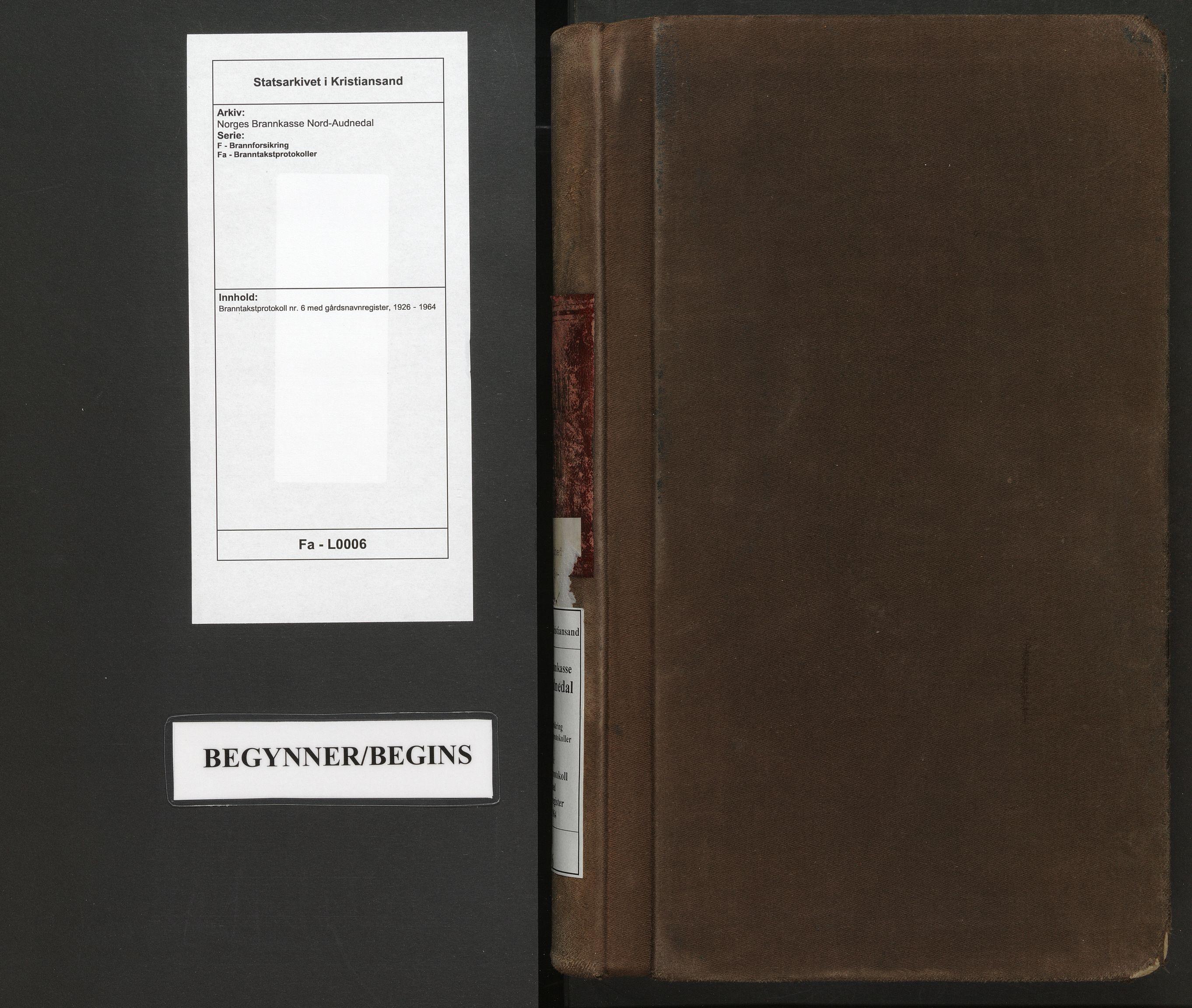 SAK, Norges Brannkasse Nord-Audnedal, F/Fa/L0006: Branntakstprotokoll nr. 6 med gårdsnavnregister, 1926-1964