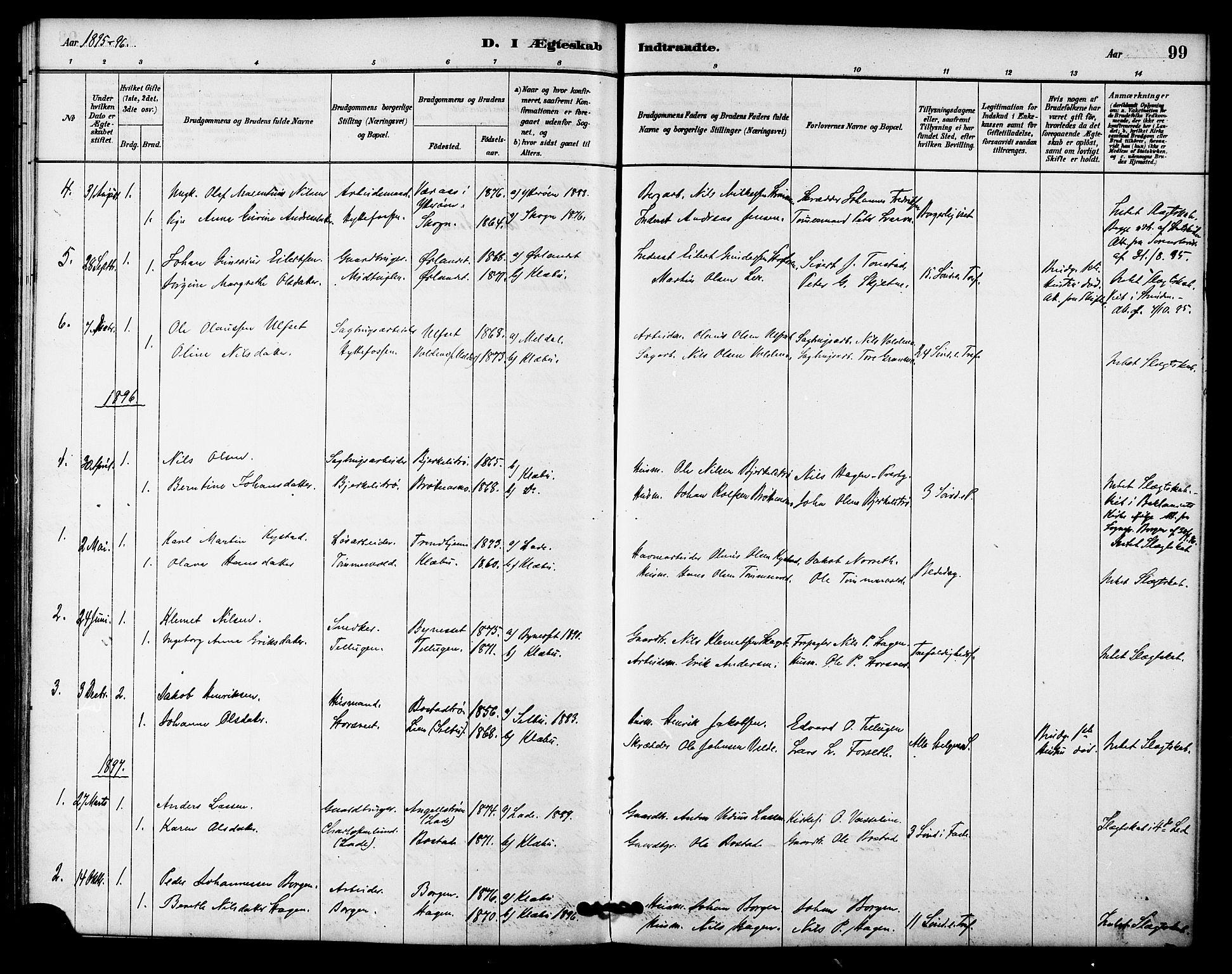 SAT, Ministerialprotokoller, klokkerbøker og fødselsregistre - Sør-Trøndelag, 618/L0444: Ministerialbok nr. 618A07, 1880-1898, s. 99