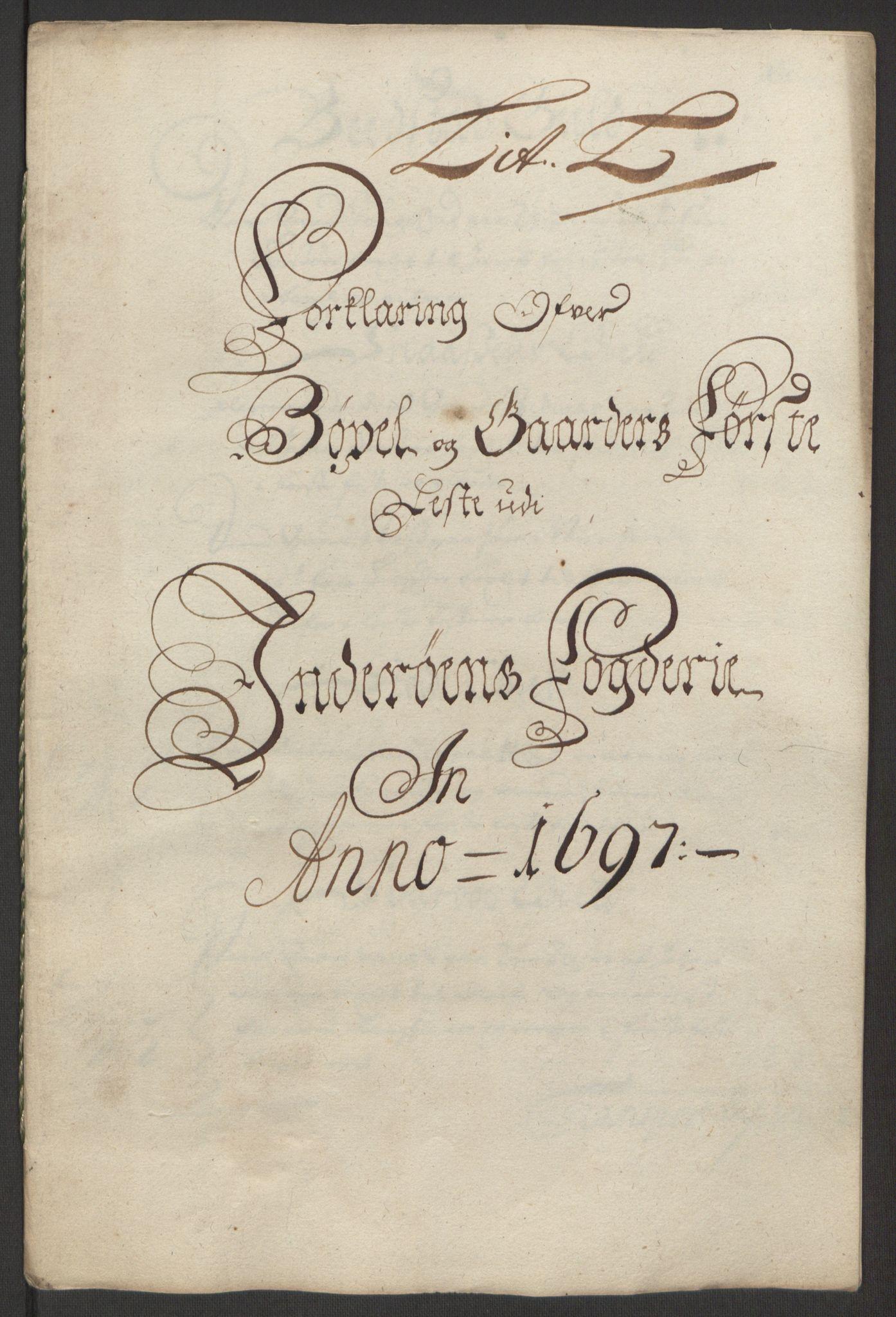 RA, Rentekammeret inntil 1814, Reviderte regnskaper, Fogderegnskap, R63/L4309: Fogderegnskap Inderøy, 1695-1697, s. 491
