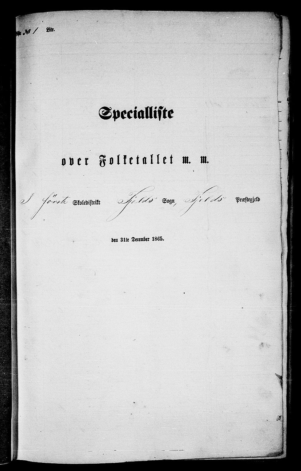 RA, Folketelling 1865 for 1246P Fjell prestegjeld, 1865, s. 16