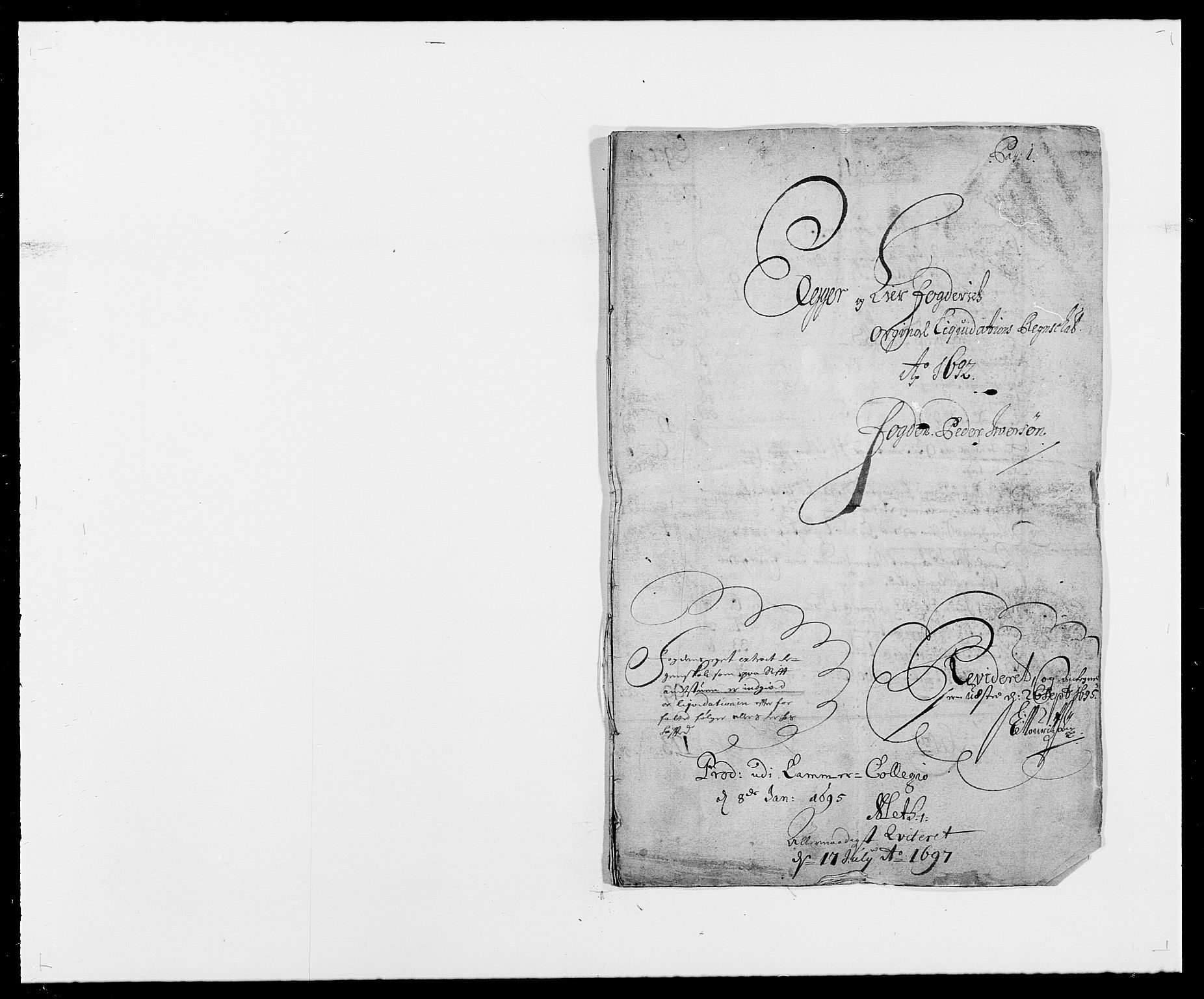 RA, Rentekammeret inntil 1814, Reviderte regnskaper, Fogderegnskap, R28/L1690: Fogderegnskap Eiker og Lier, 1692-1693, s. 1