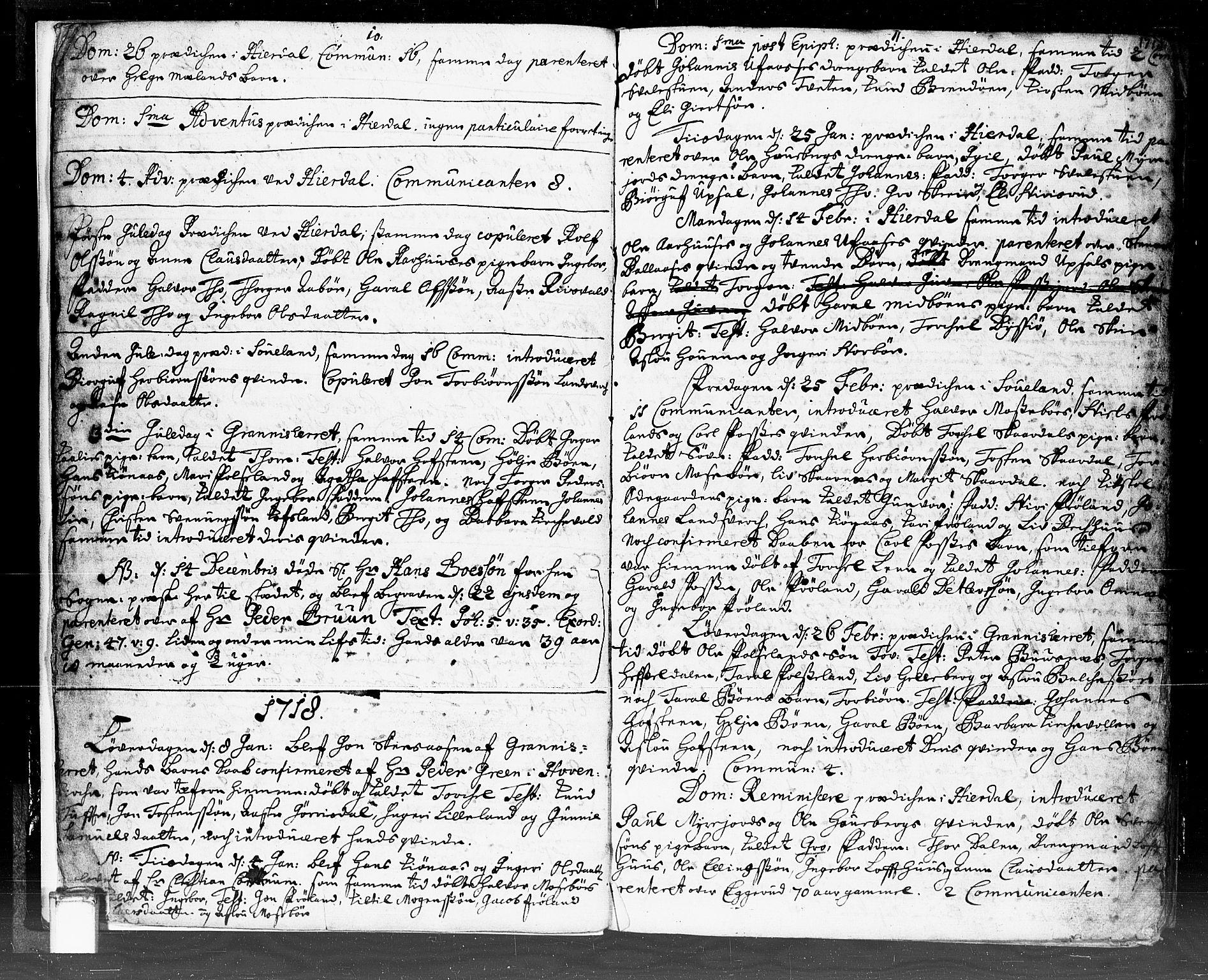 SAKO, Hjartdal kirkebøker, F/Fa/L0002: Ministerialbok nr. I 2, 1716-1754, s. 10-11