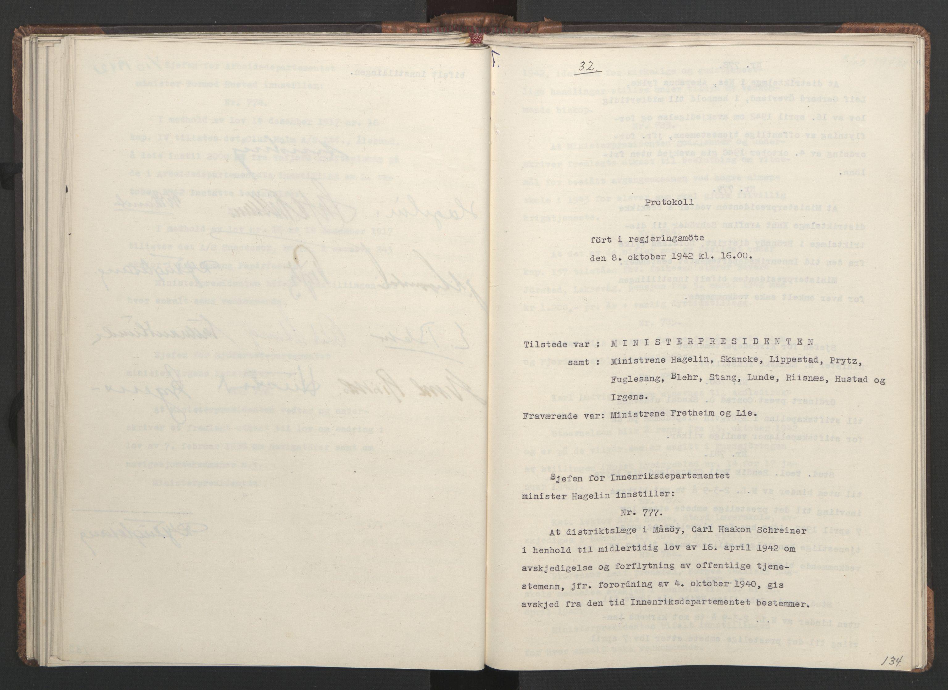 RA, NS-administrasjonen 1940-1945 (Statsrådsekretariatet, de kommisariske statsråder mm), D/Da/L0001: Beslutninger og tillegg (1-952 og 1-32), 1942, s. 133b-134a