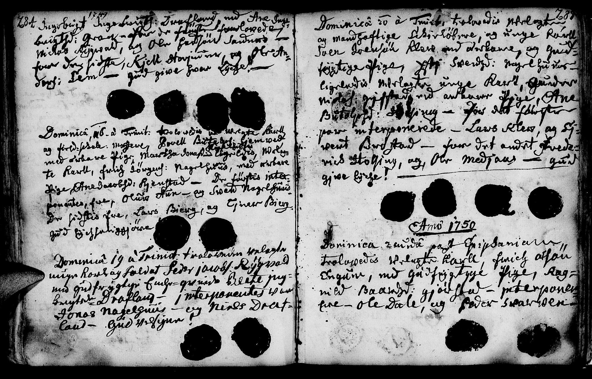 SAT, Ministerialprotokoller, klokkerbøker og fødselsregistre - Nord-Trøndelag, 749/L0467: Ministerialbok nr. 749A01, 1733-1787, s. 284-285