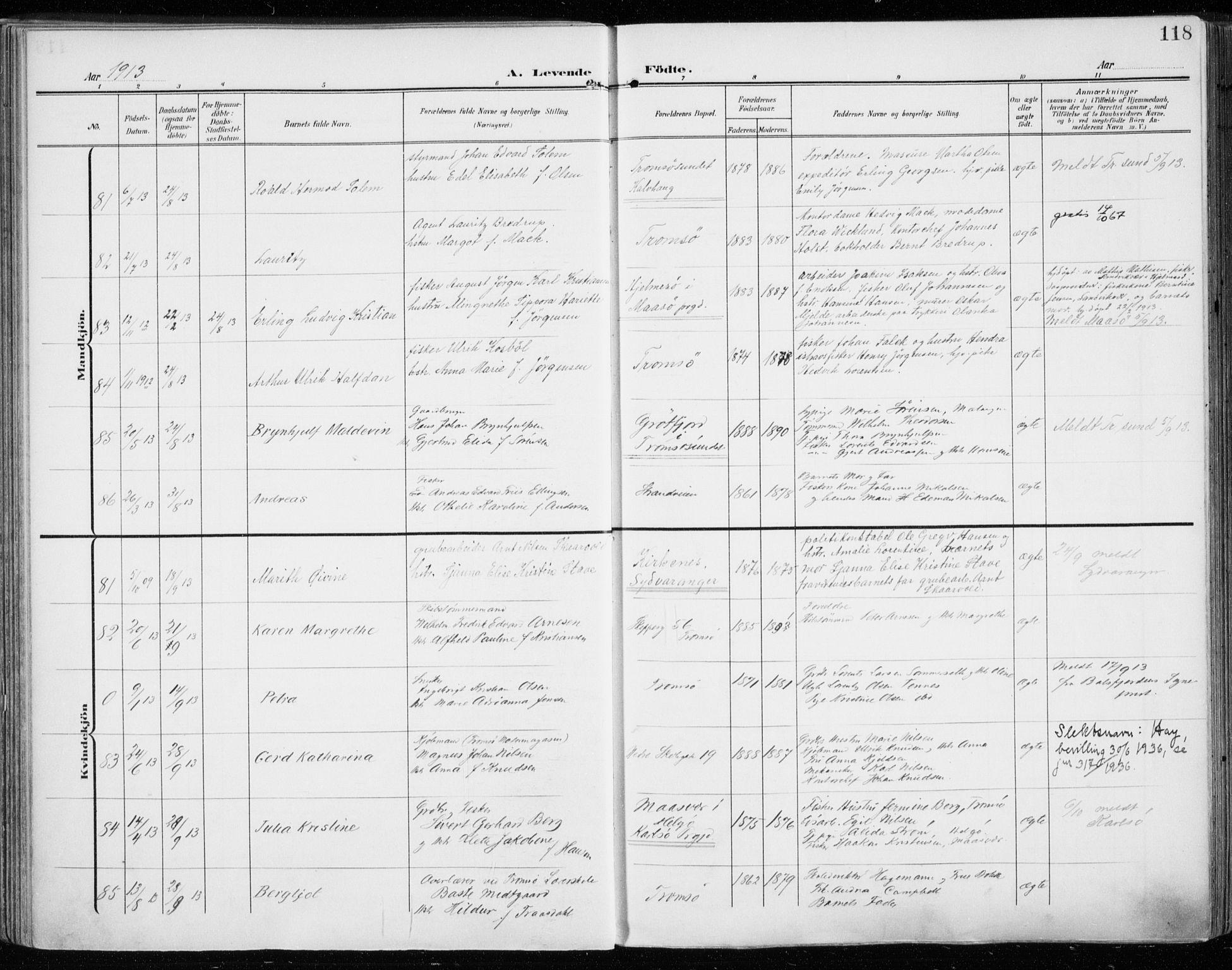 SATØ, Tromsø sokneprestkontor/stiftsprosti/domprosti, G/Ga/L0017kirke: Ministerialbok nr. 17, 1907-1917, s. 118