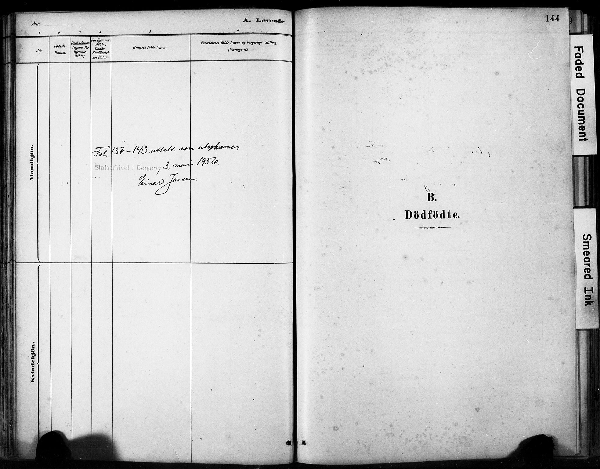 SAB, Fjell sokneprestembete, H/Hab: Klokkerbok nr. A 4, 1880-1899, s. 144