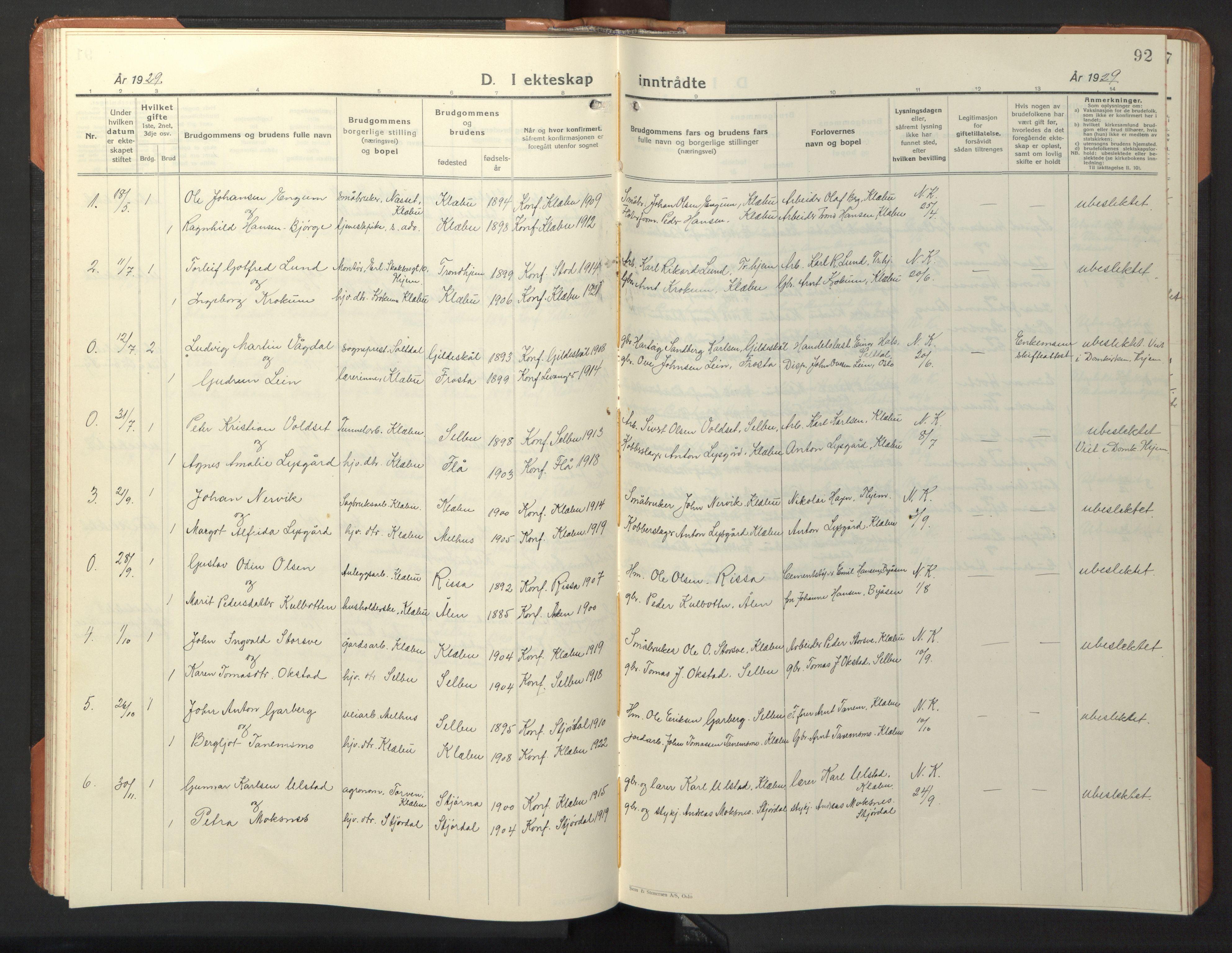 SAT, Ministerialprotokoller, klokkerbøker og fødselsregistre - Sør-Trøndelag, 618/L0454: Klokkerbok nr. 618C05, 1926-1946, s. 92