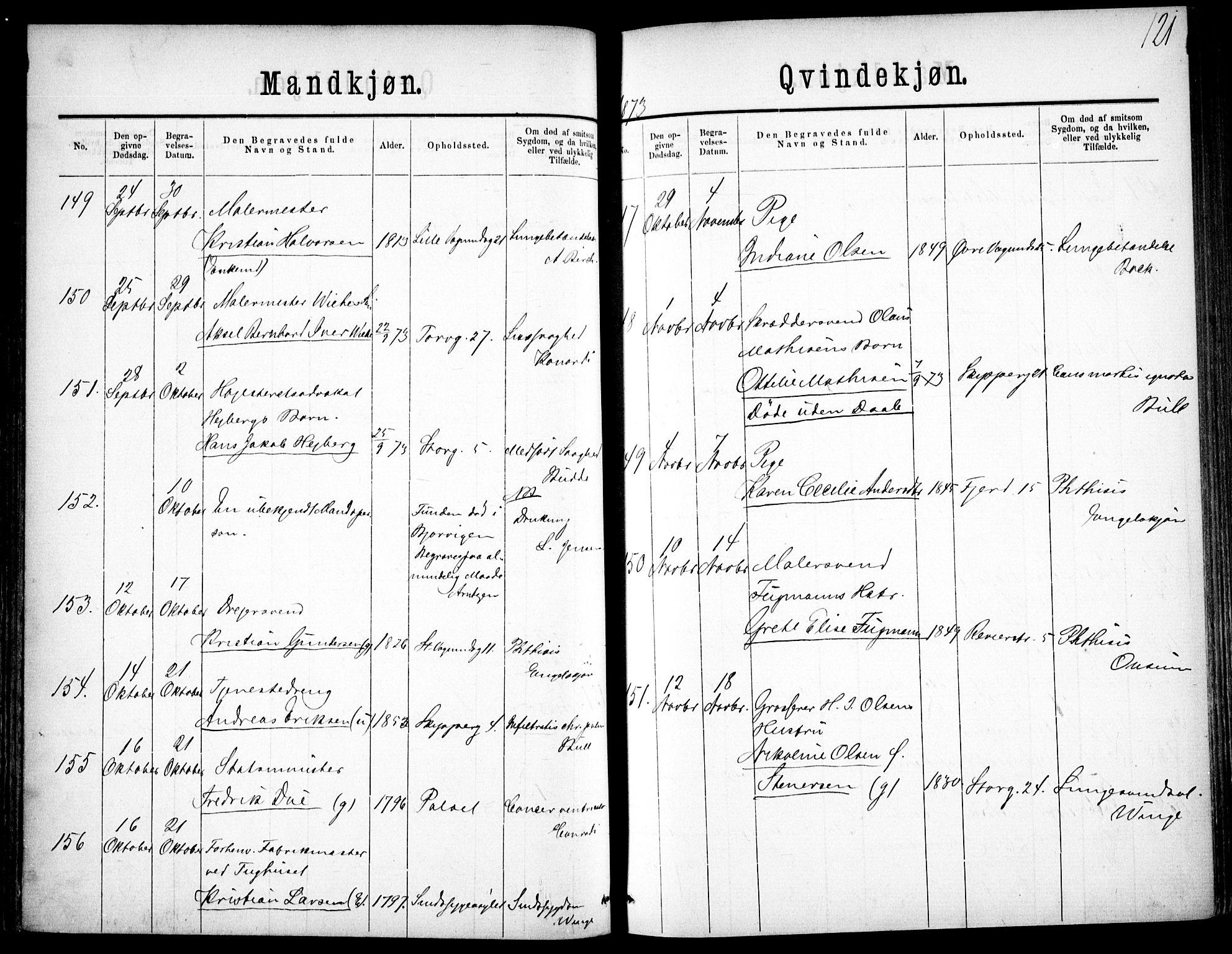 SAO, Oslo domkirke Kirkebøker, F/Fa/L0026: Ministerialbok nr. 26, 1867-1884, s. 121