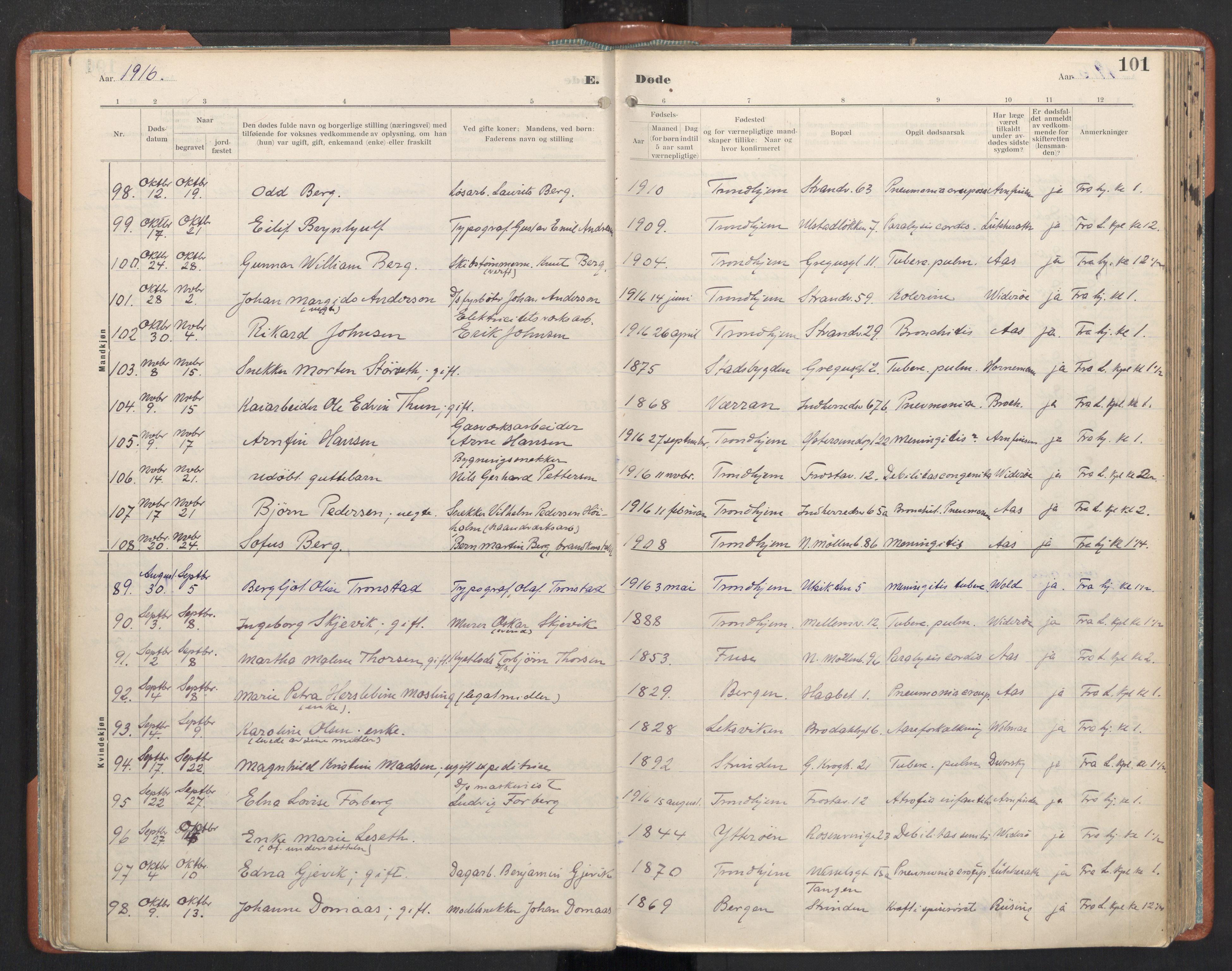 SAT, Ministerialprotokoller, klokkerbøker og fødselsregistre - Sør-Trøndelag, 605/L0245: Ministerialbok nr. 605A07, 1916-1938, s. 101