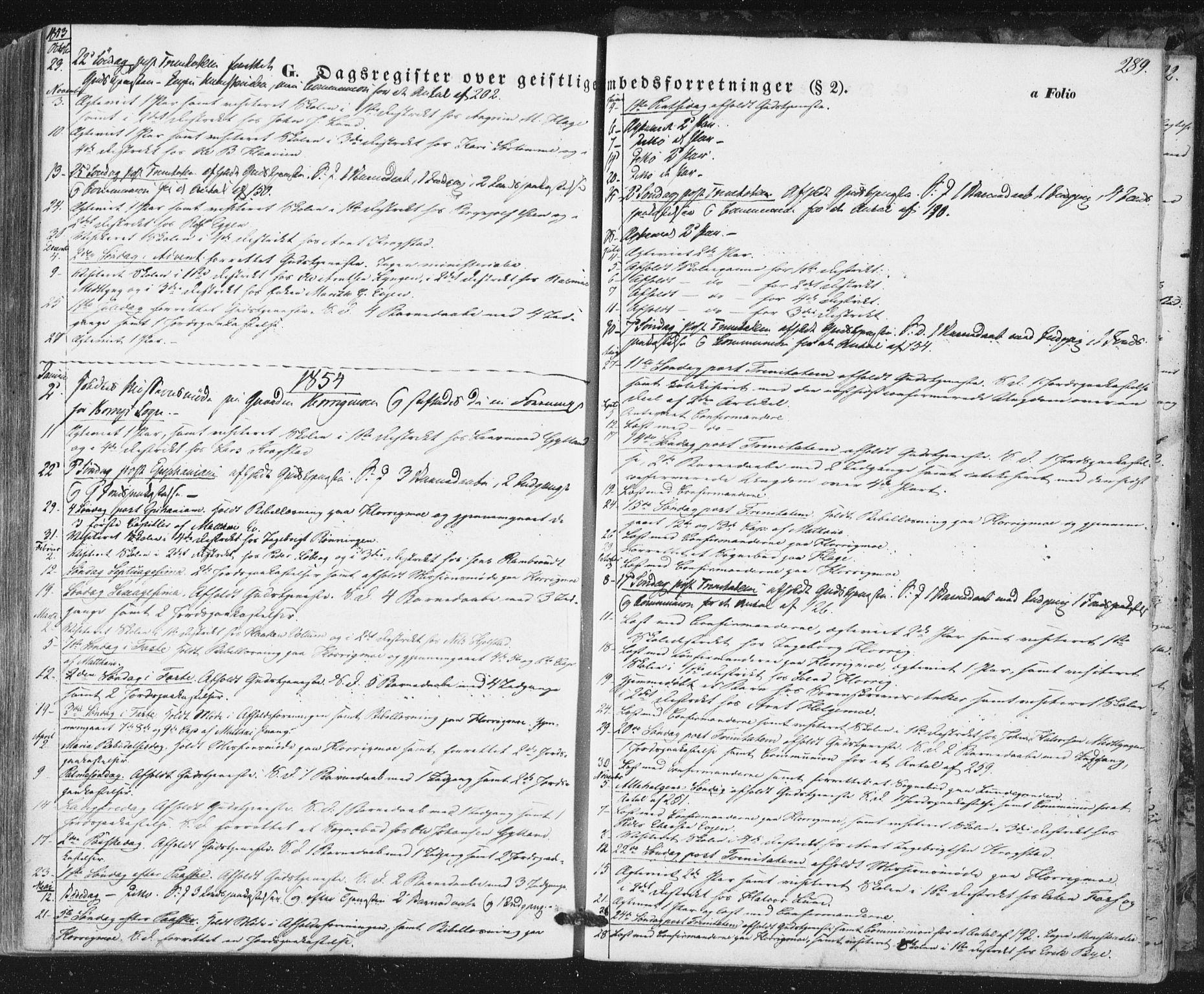 SAT, Ministerialprotokoller, klokkerbøker og fødselsregistre - Sør-Trøndelag, 692/L1103: Ministerialbok nr. 692A03, 1849-1870, s. 289