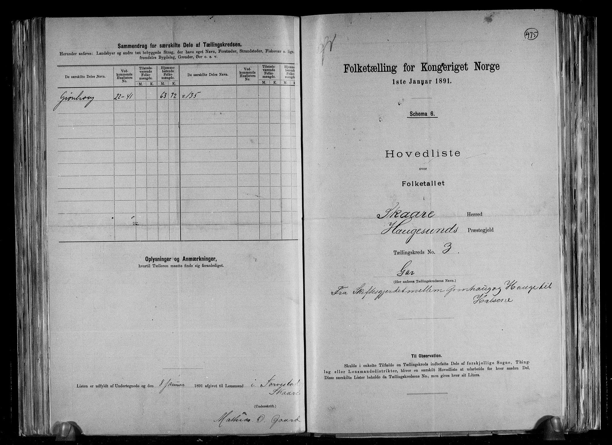 RA, Folketelling 1891 for 1153 Skåre herred, 1891, s. 8